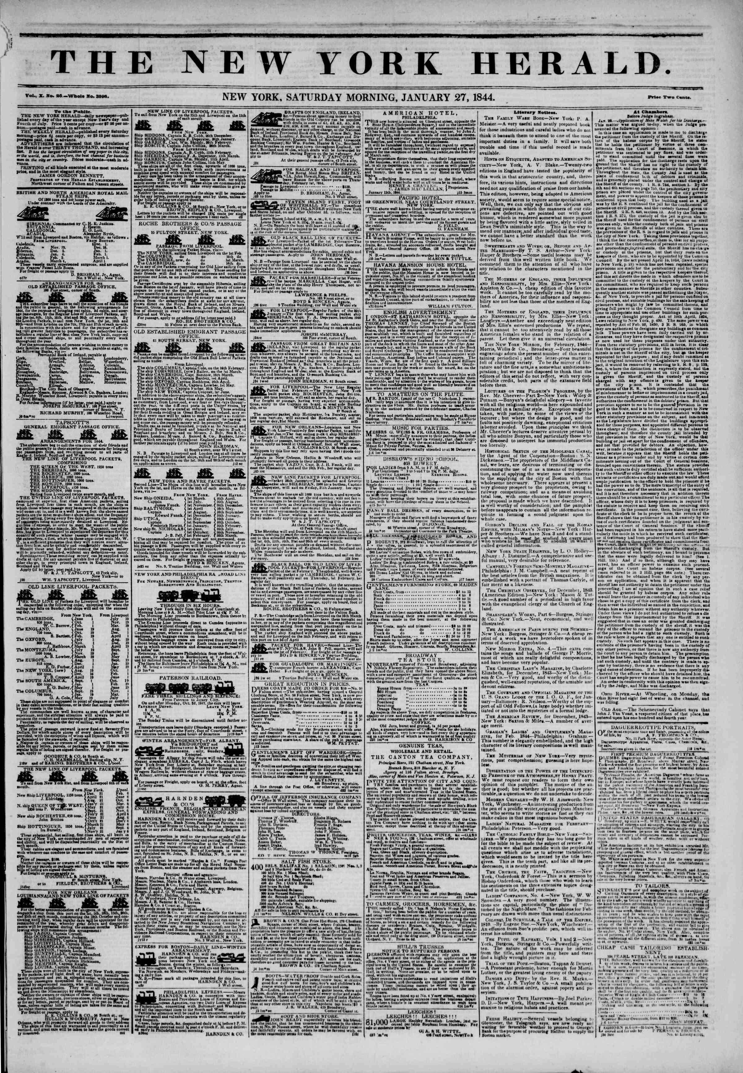 27 Ocak 1844 Tarihli The New York Herald Gazetesi Sayfa 1