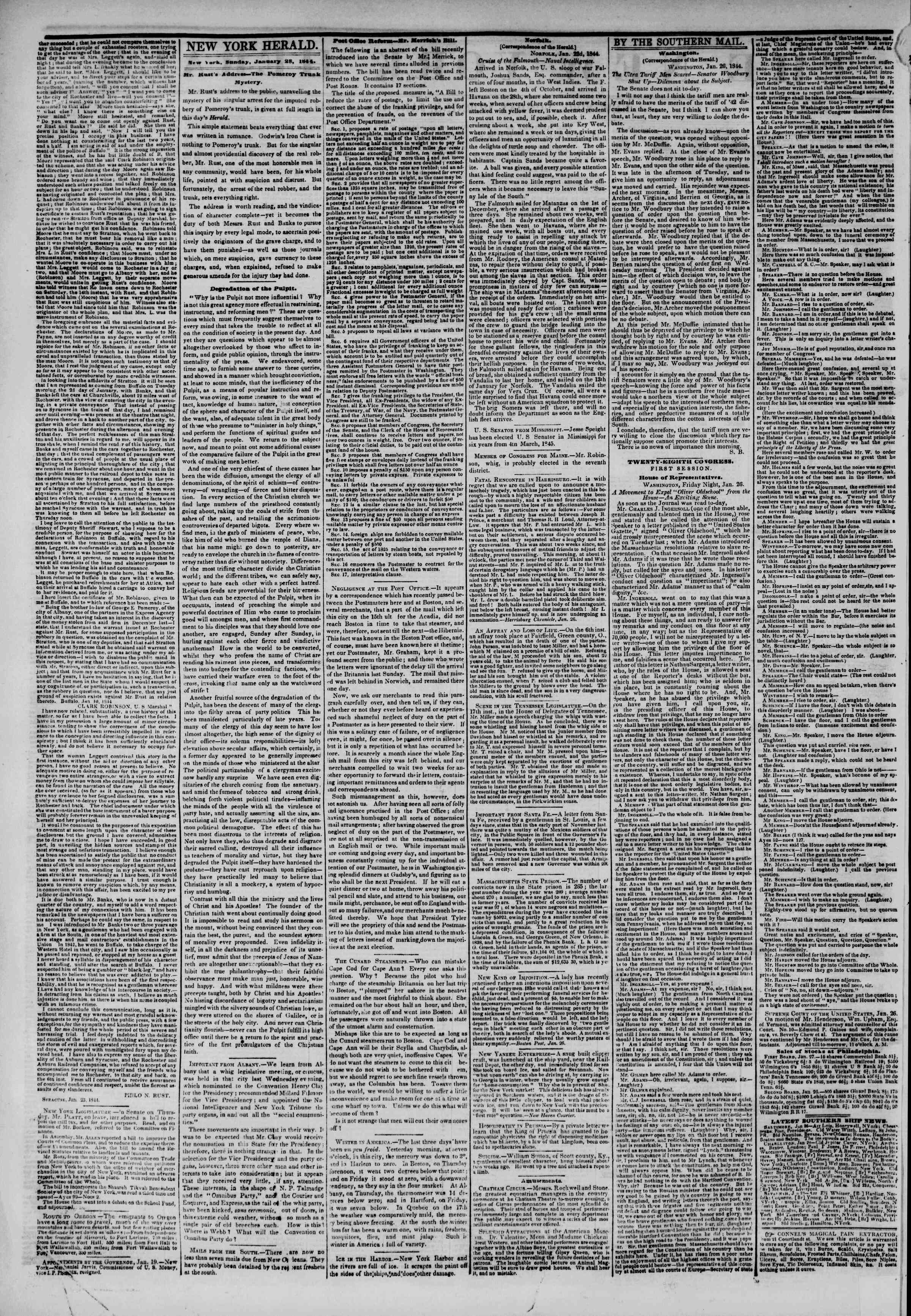 Newspaper of The New York Herald dated 28 Ocak 1844 Page 2