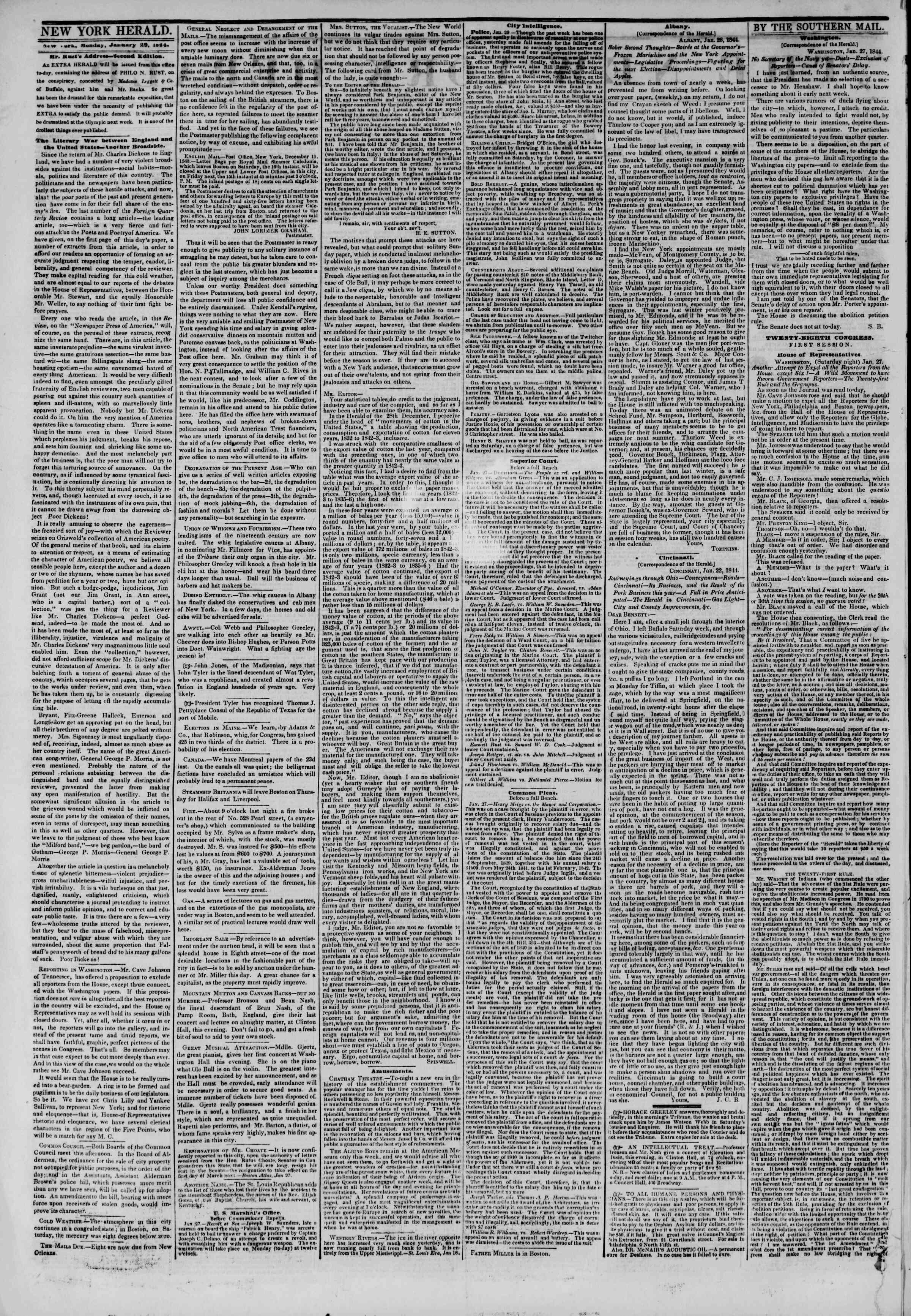 January 29, 1844 Tarihli The New York Herald Gazetesi Sayfa 2