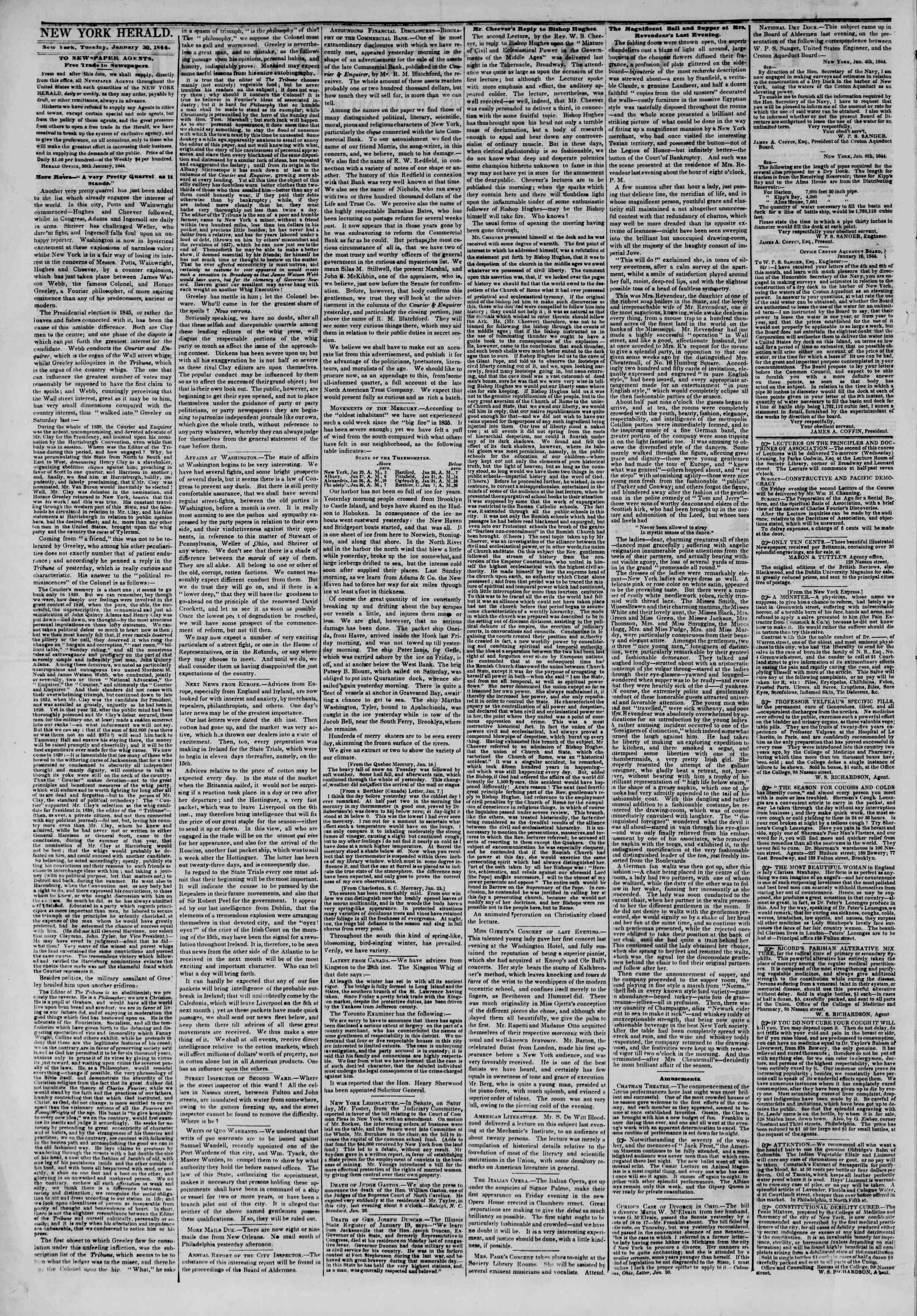 January 30, 1844 Tarihli The New York Herald Gazetesi Sayfa 2