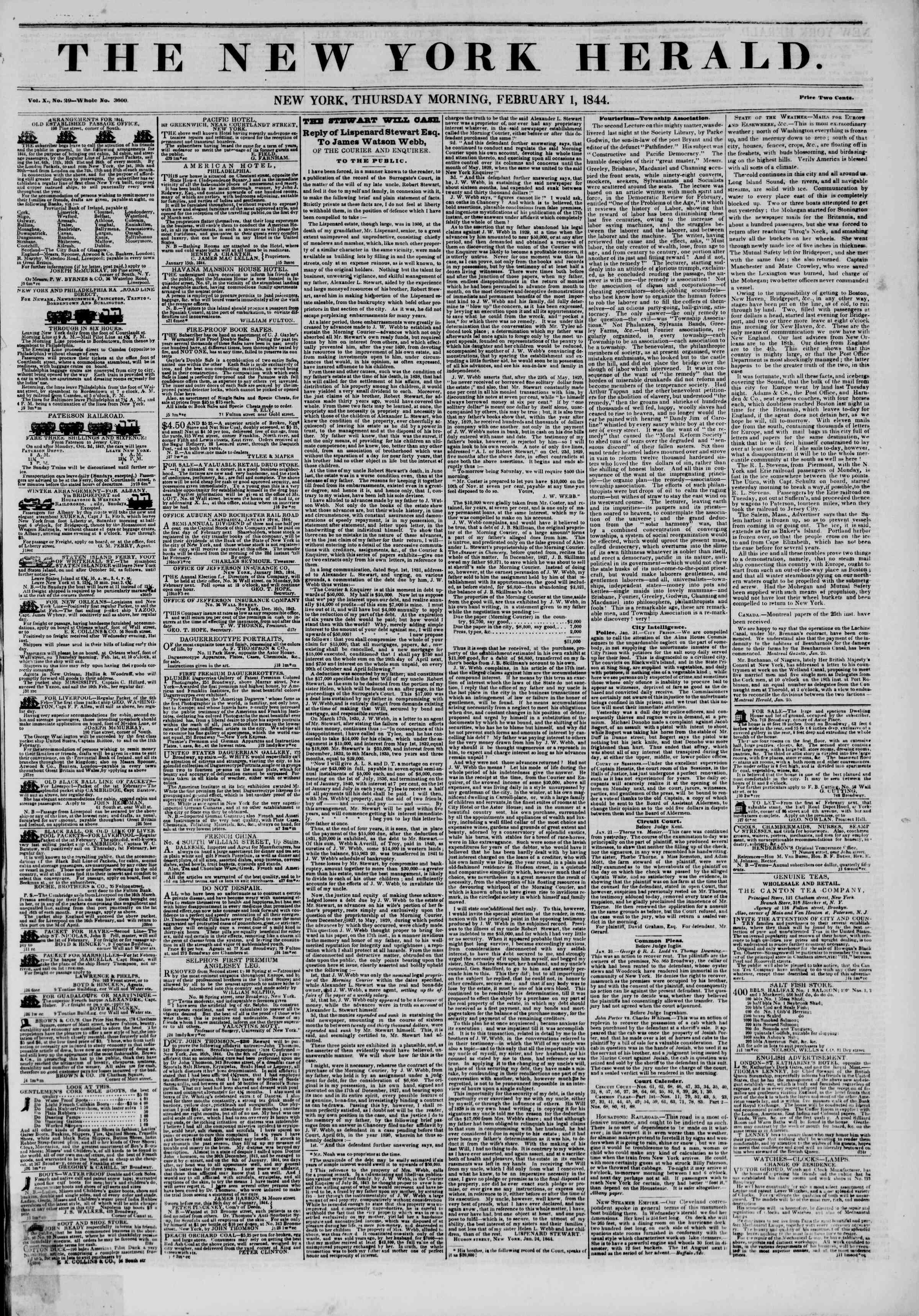 February 1, 1844 Tarihli The New York Herald Gazetesi Sayfa 1