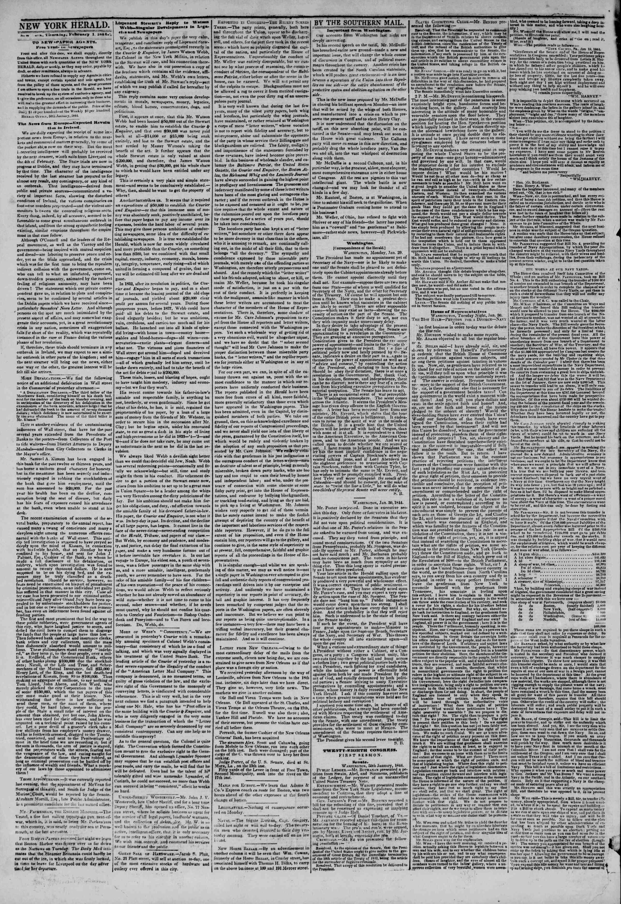 Newspaper of The New York Herald dated February 1, 1844 Page 2