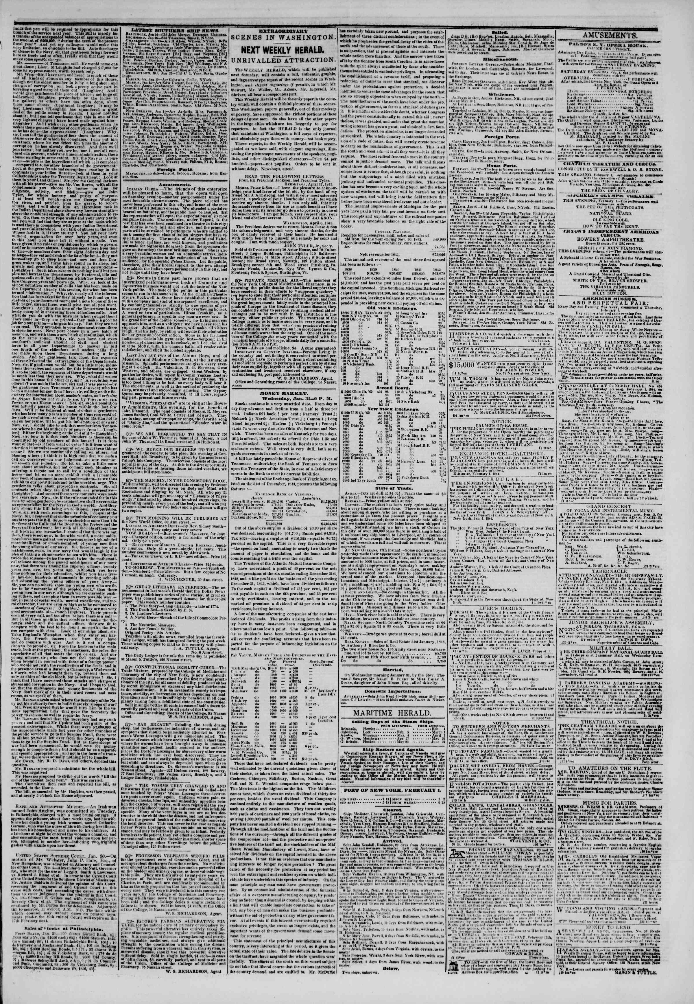 February 1, 1844 Tarihli The New York Herald Gazetesi Sayfa 3