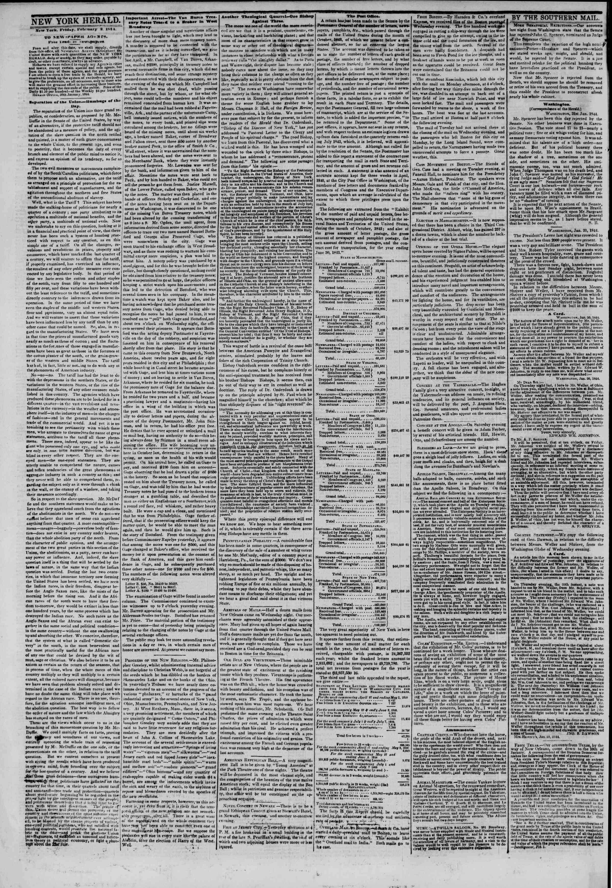 February 2, 1844 Tarihli The New York Herald Gazetesi Sayfa 2