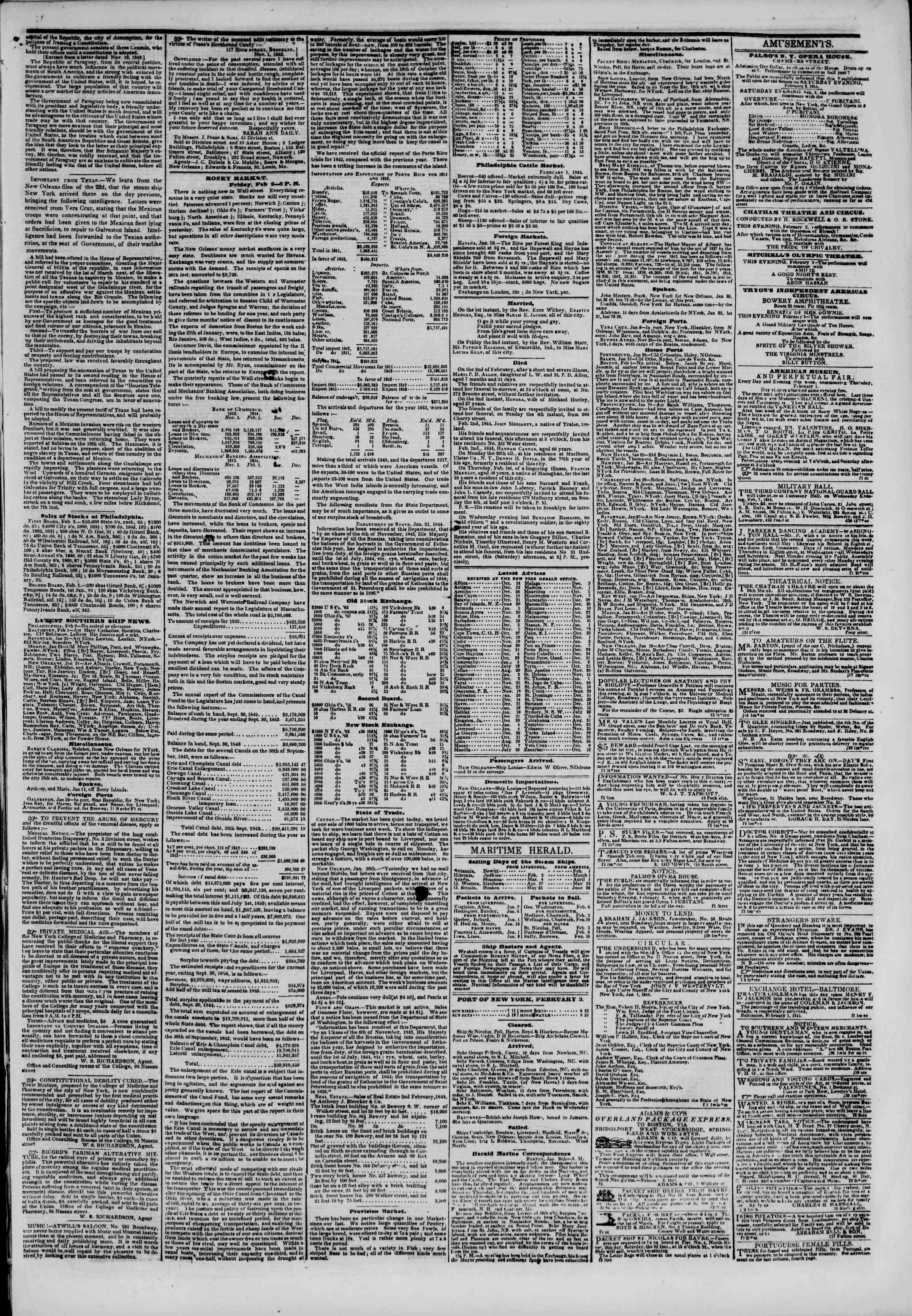 February 3, 1844 Tarihli The New York Herald Gazetesi Sayfa 3