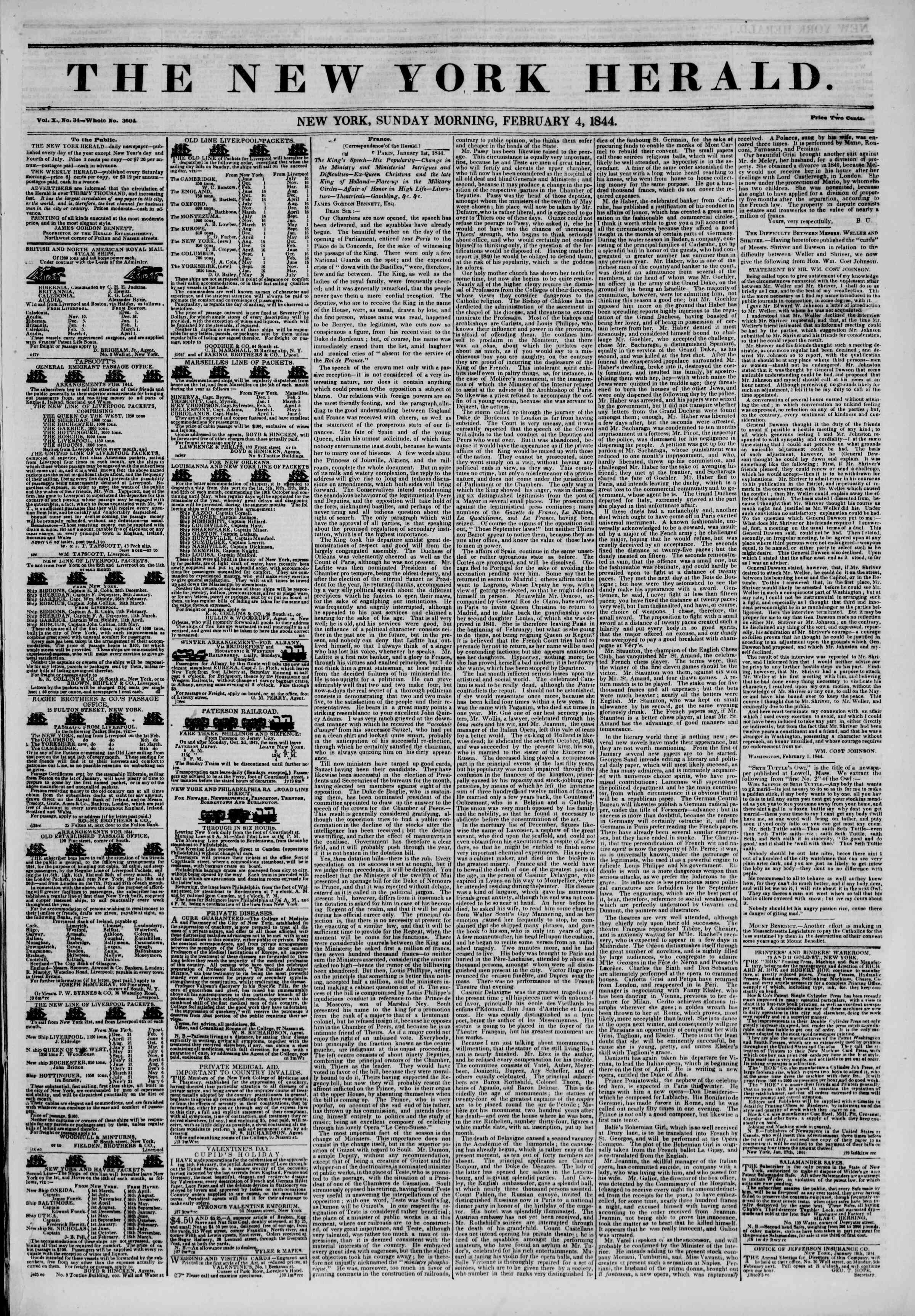 February 4, 1844 Tarihli The New York Herald Gazetesi Sayfa 1