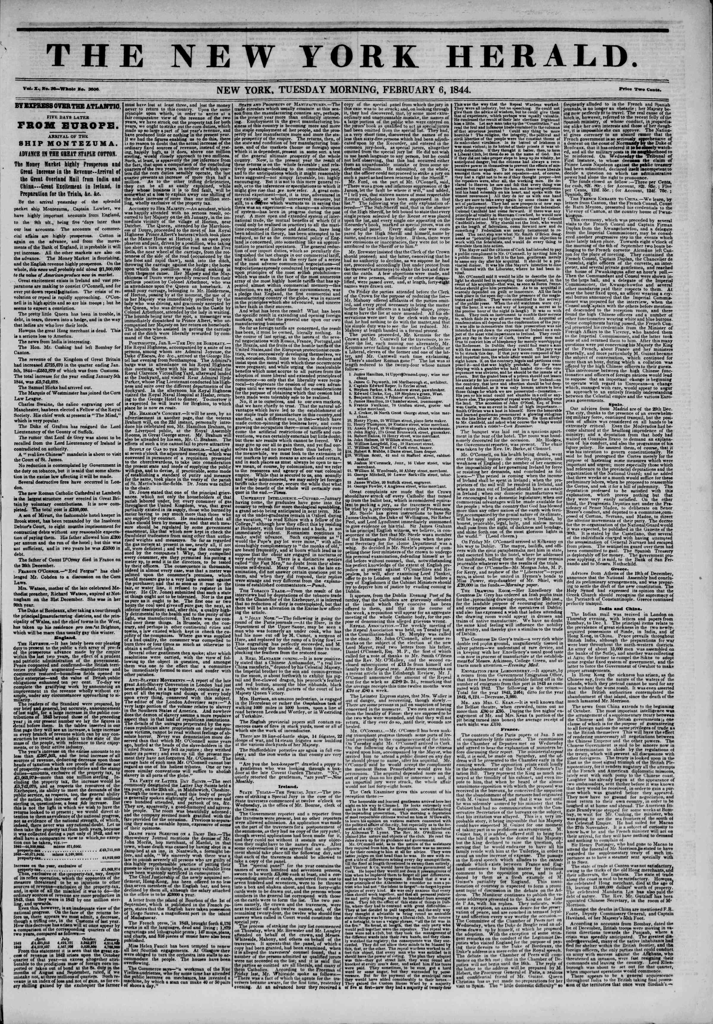 Newspaper of The New York Herald dated February 6, 1844 Page 1