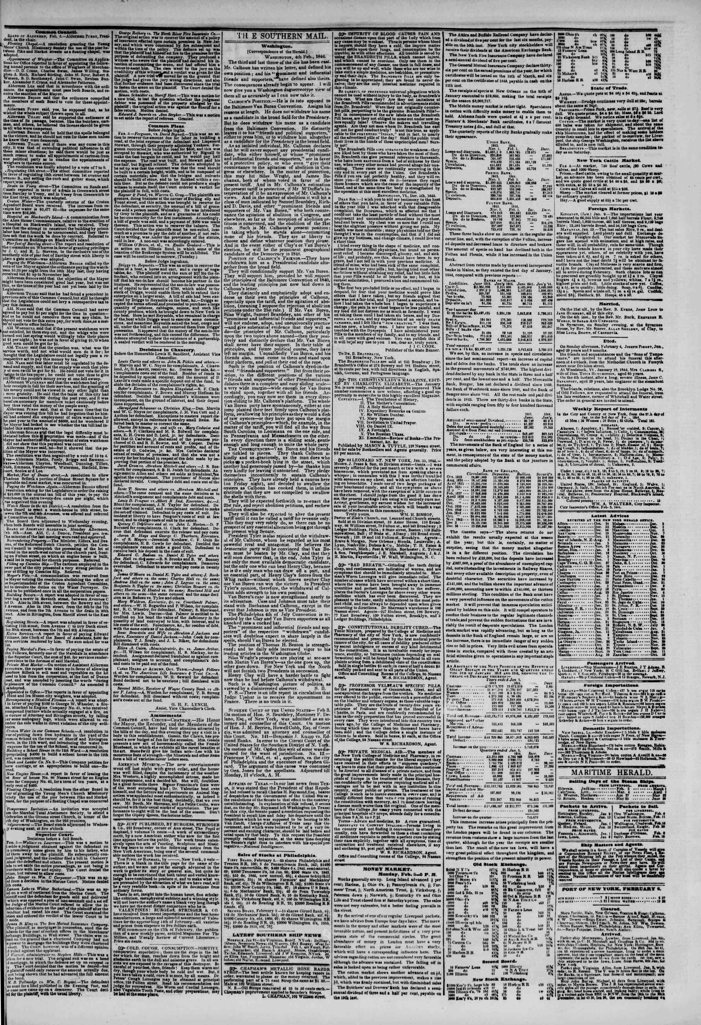 February 6, 1844 Tarihli The New York Herald Gazetesi Sayfa 3