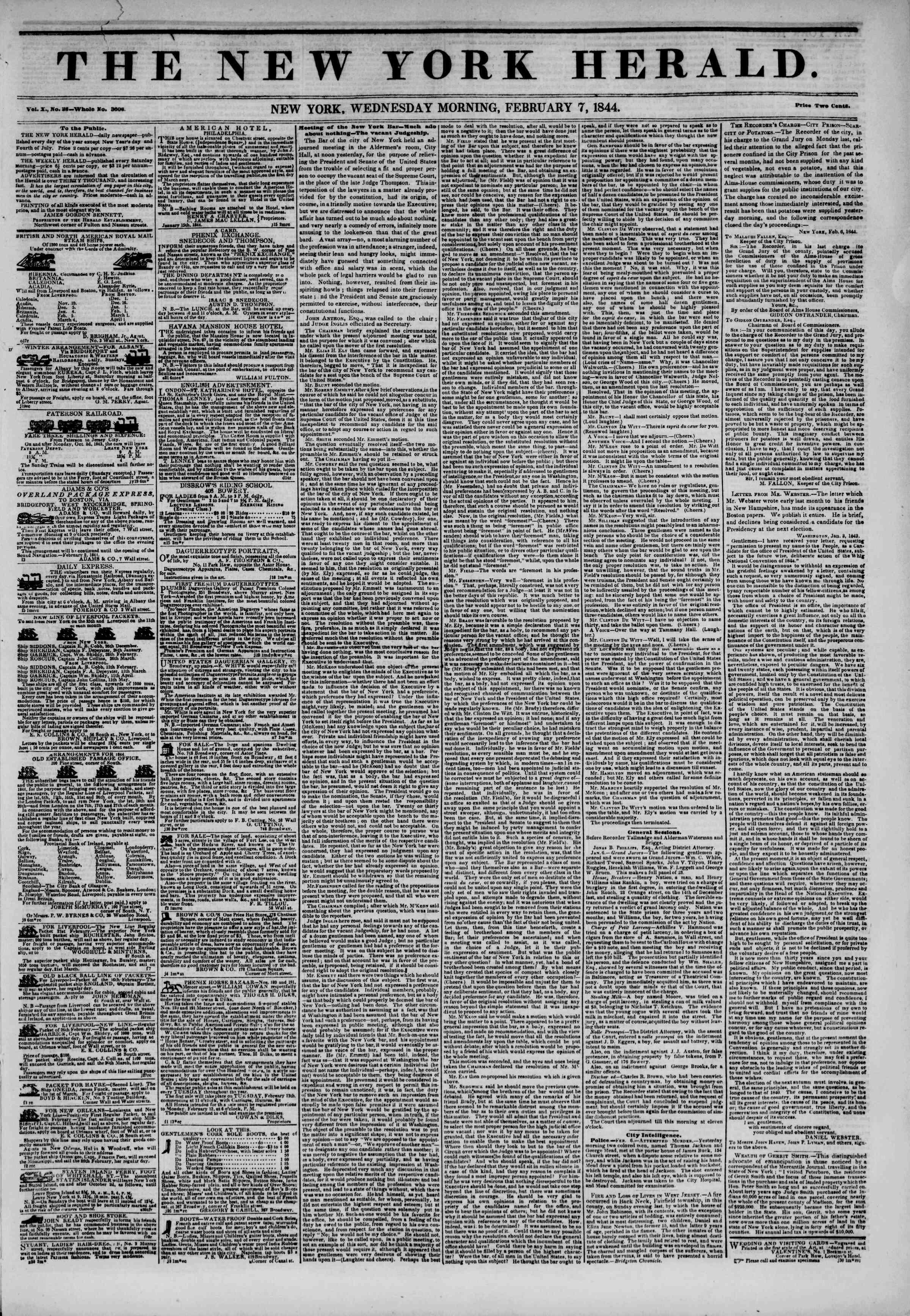 February 7, 1844 Tarihli The New York Herald Gazetesi Sayfa 1