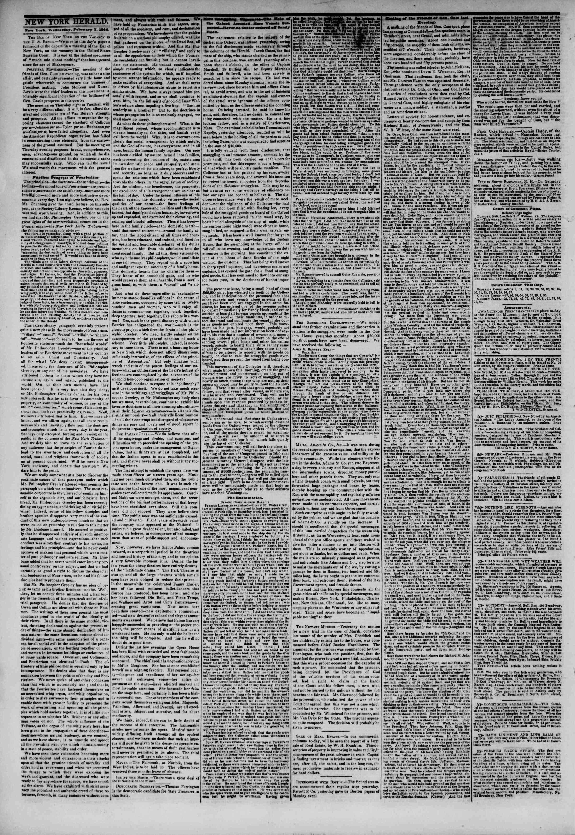 February 7, 1844 Tarihli The New York Herald Gazetesi Sayfa 2