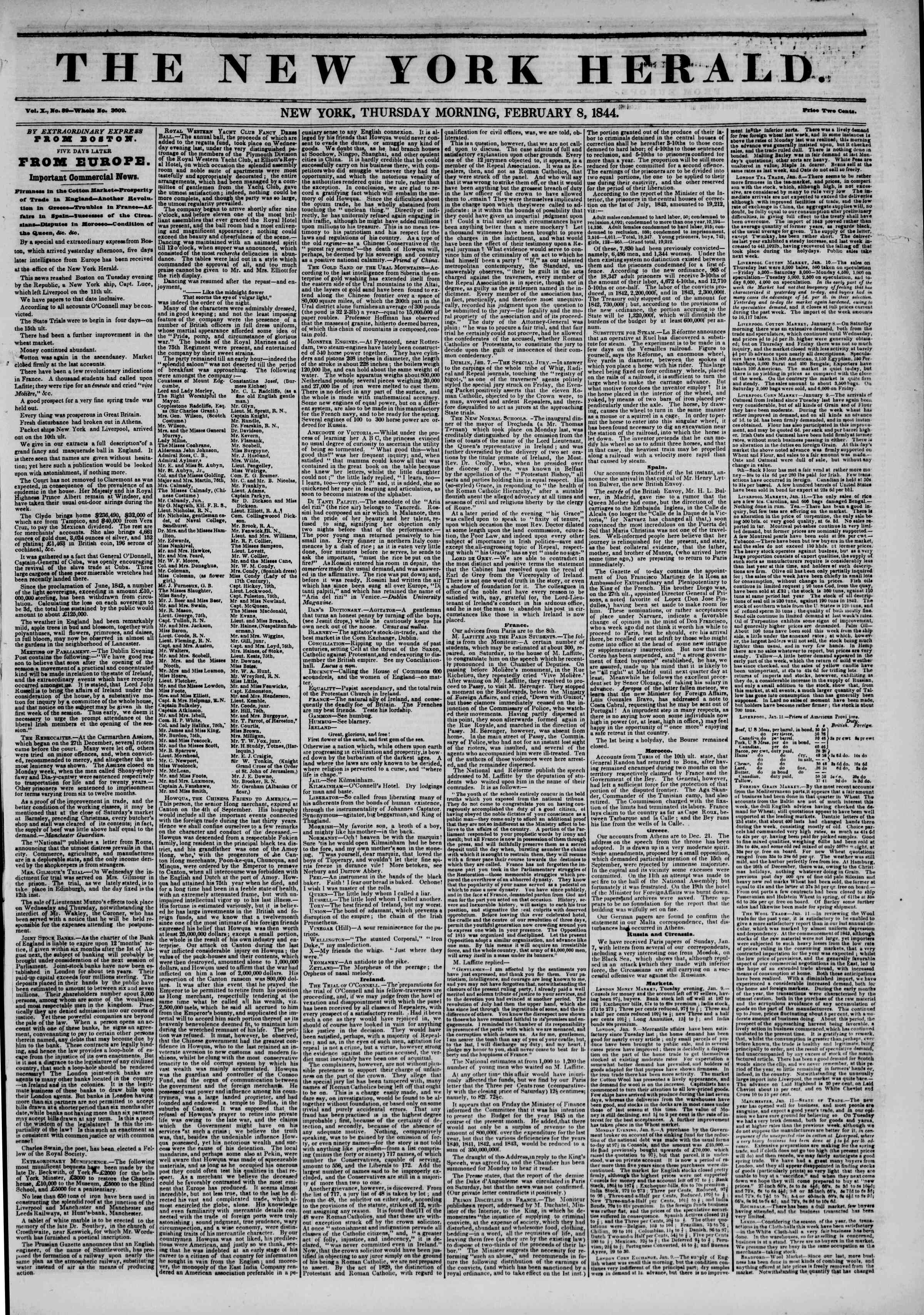 Newspaper of The New York Herald dated February 8, 1844 Page 1