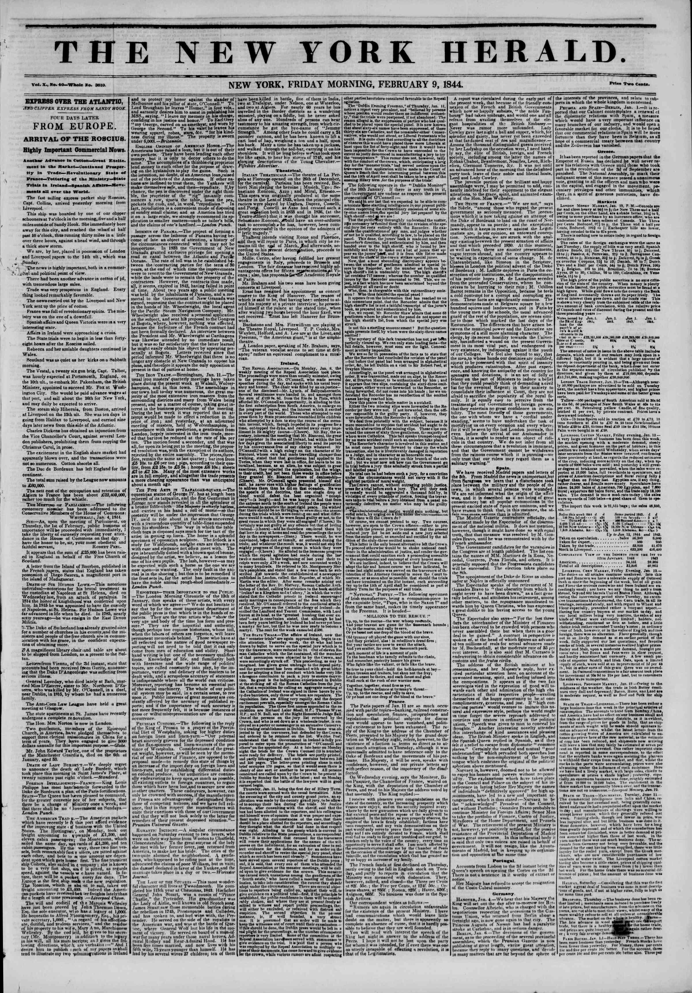 February 9, 1844 Tarihli The New York Herald Gazetesi Sayfa 1