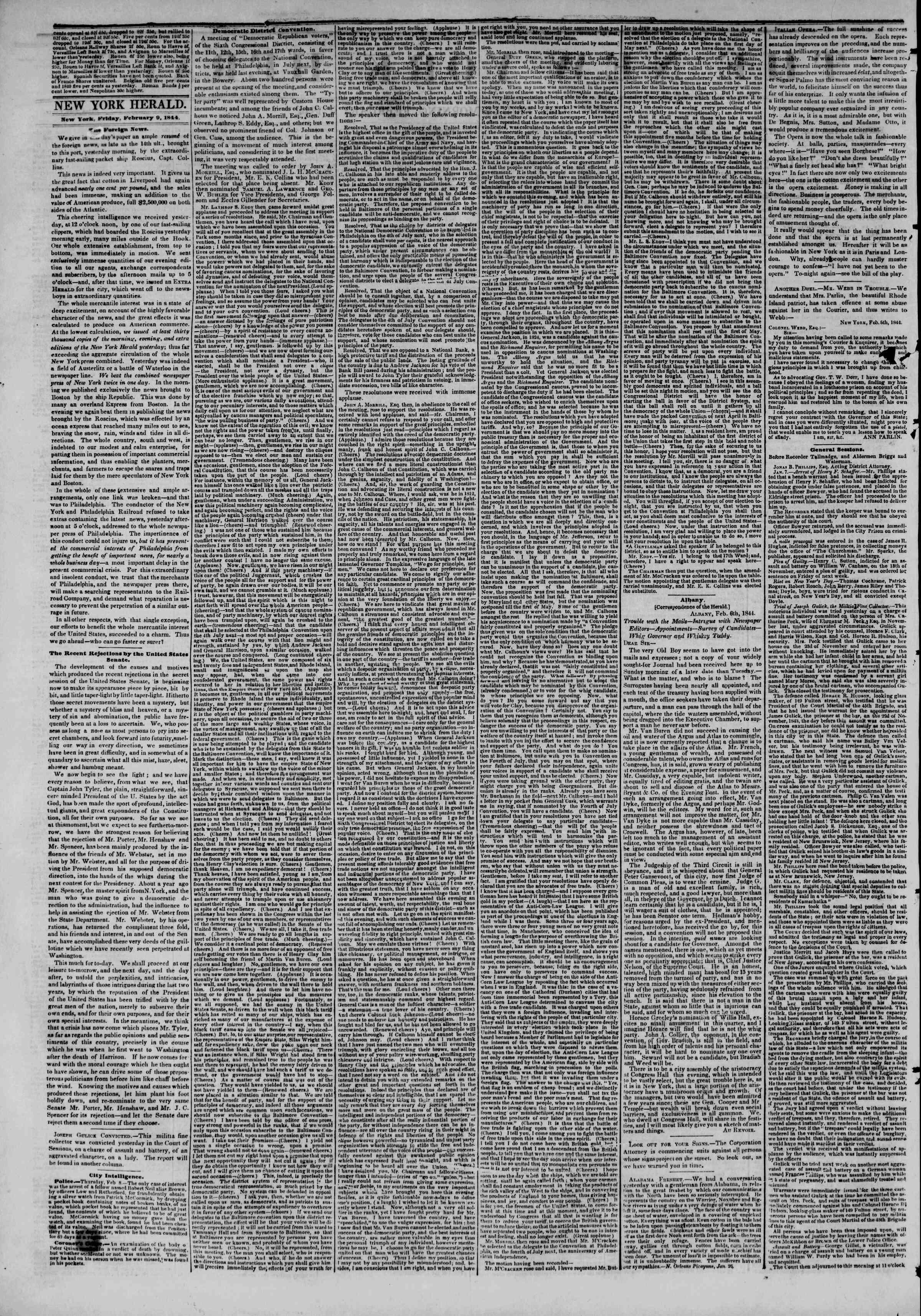 February 9, 1844 Tarihli The New York Herald Gazetesi Sayfa 2