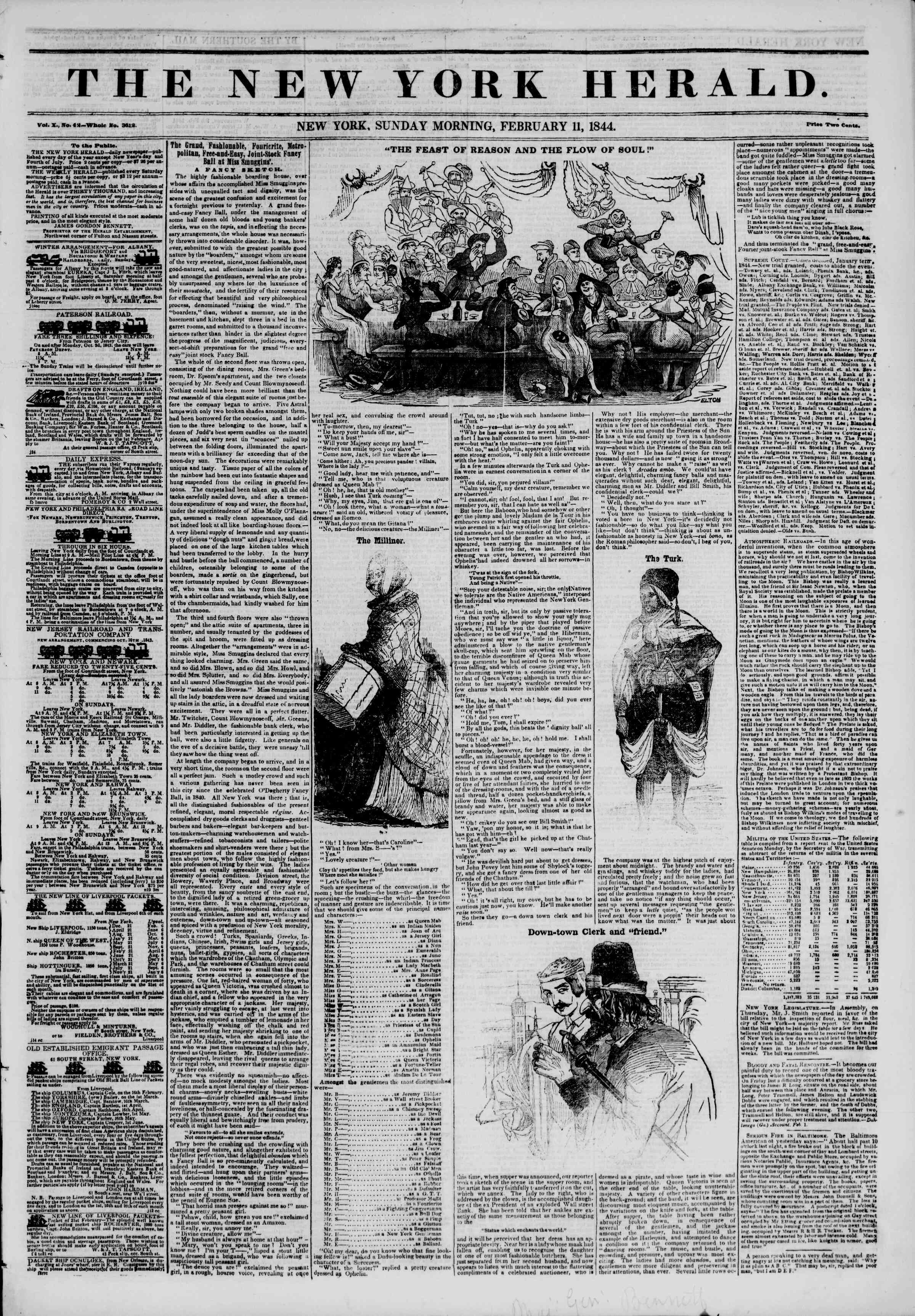 Newspaper of The New York Herald dated February 11, 1844 Page 1