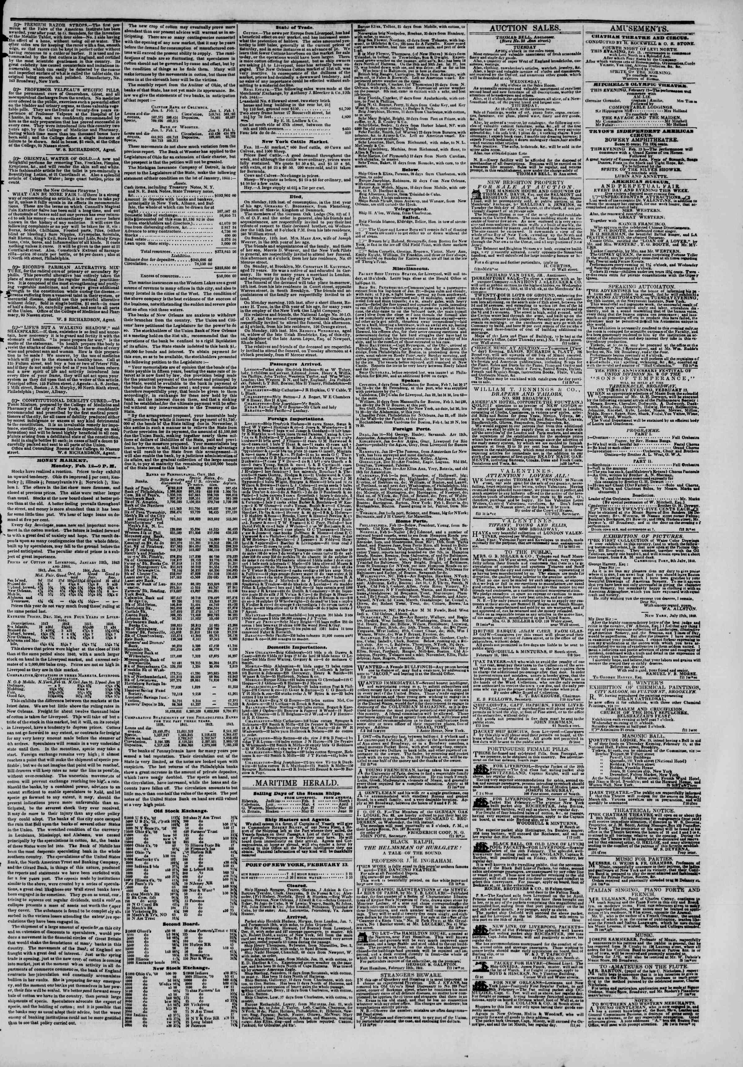 Newspaper of The New York Herald dated February 13, 1844 Page 3