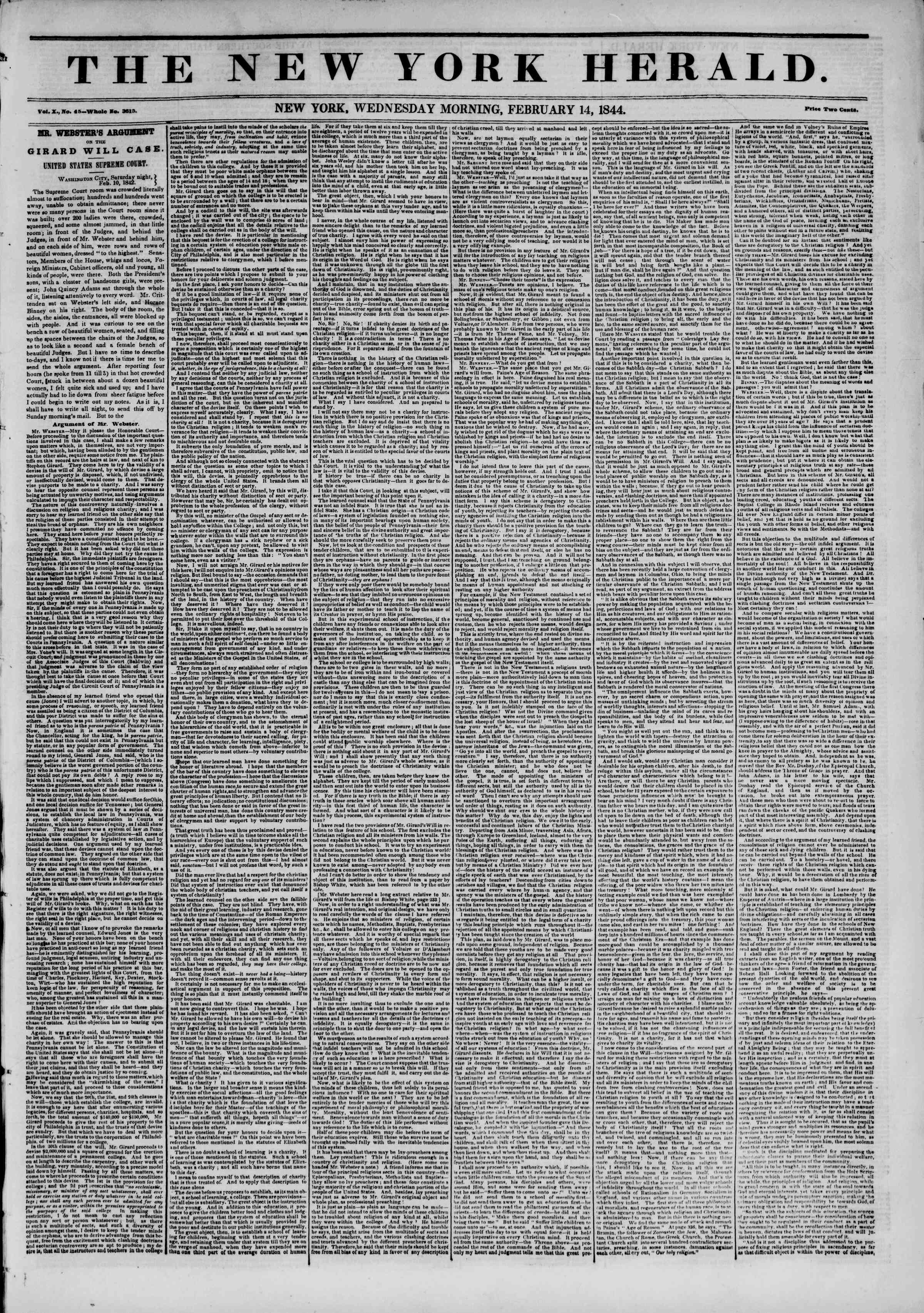 Newspaper of The New York Herald dated February 14, 1844 Page 1