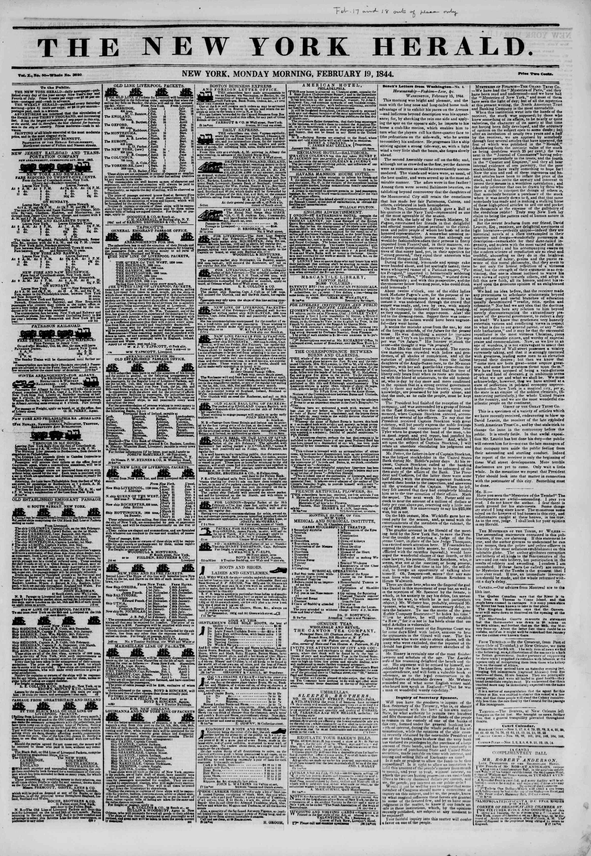 February 19, 1844 Tarihli The New York Herald Gazetesi Sayfa 1