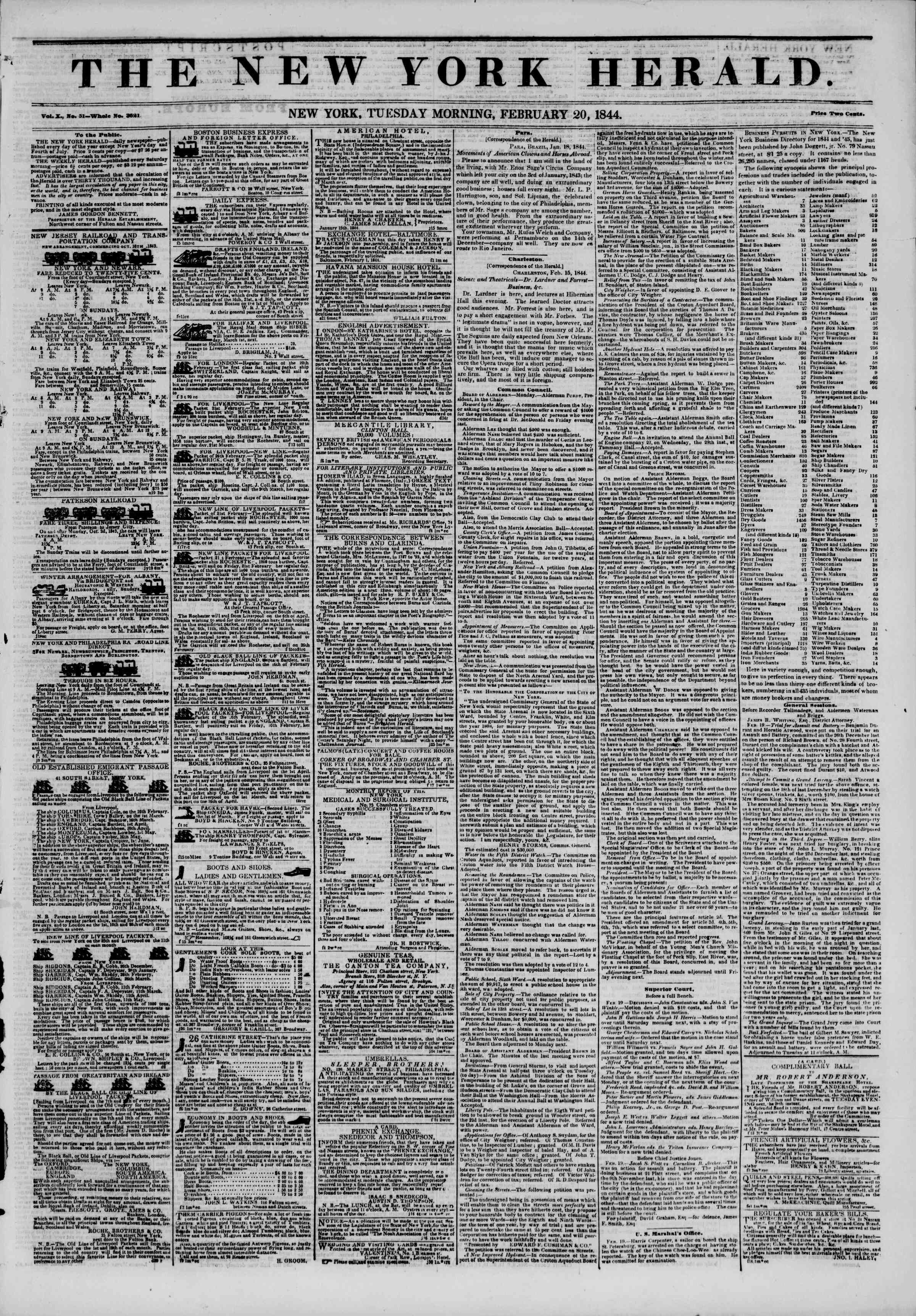 Newspaper of The New York Herald dated February 20, 1844 Page 1
