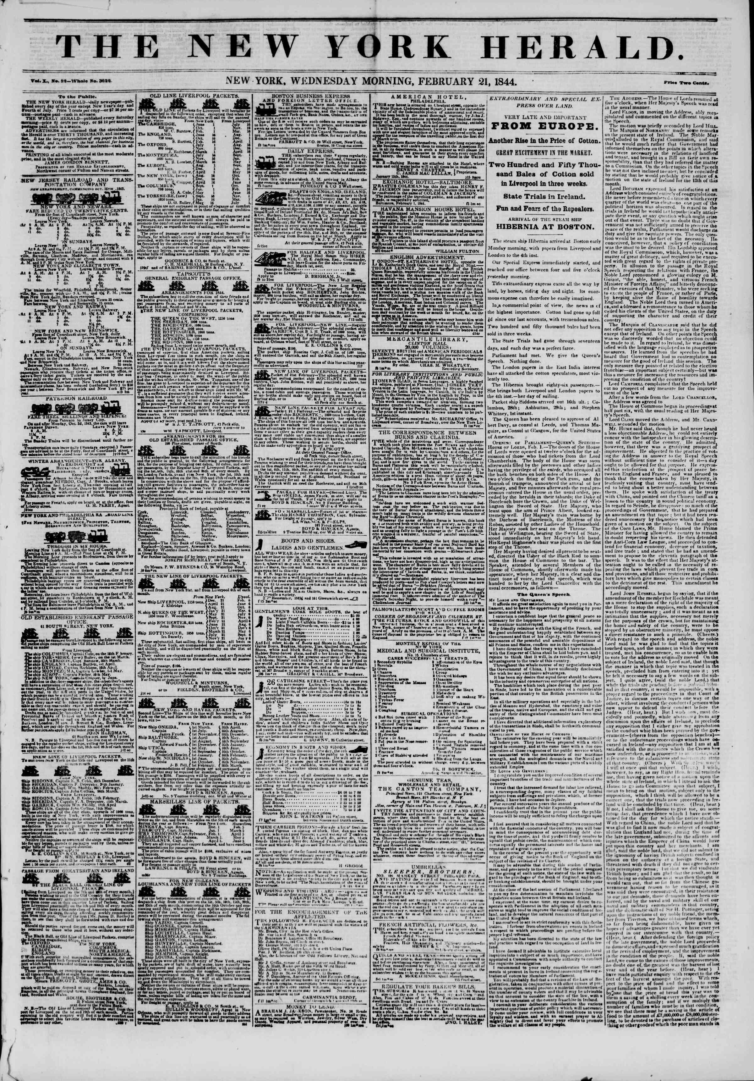 February 21, 1844 Tarihli The New York Herald Gazetesi Sayfa 1