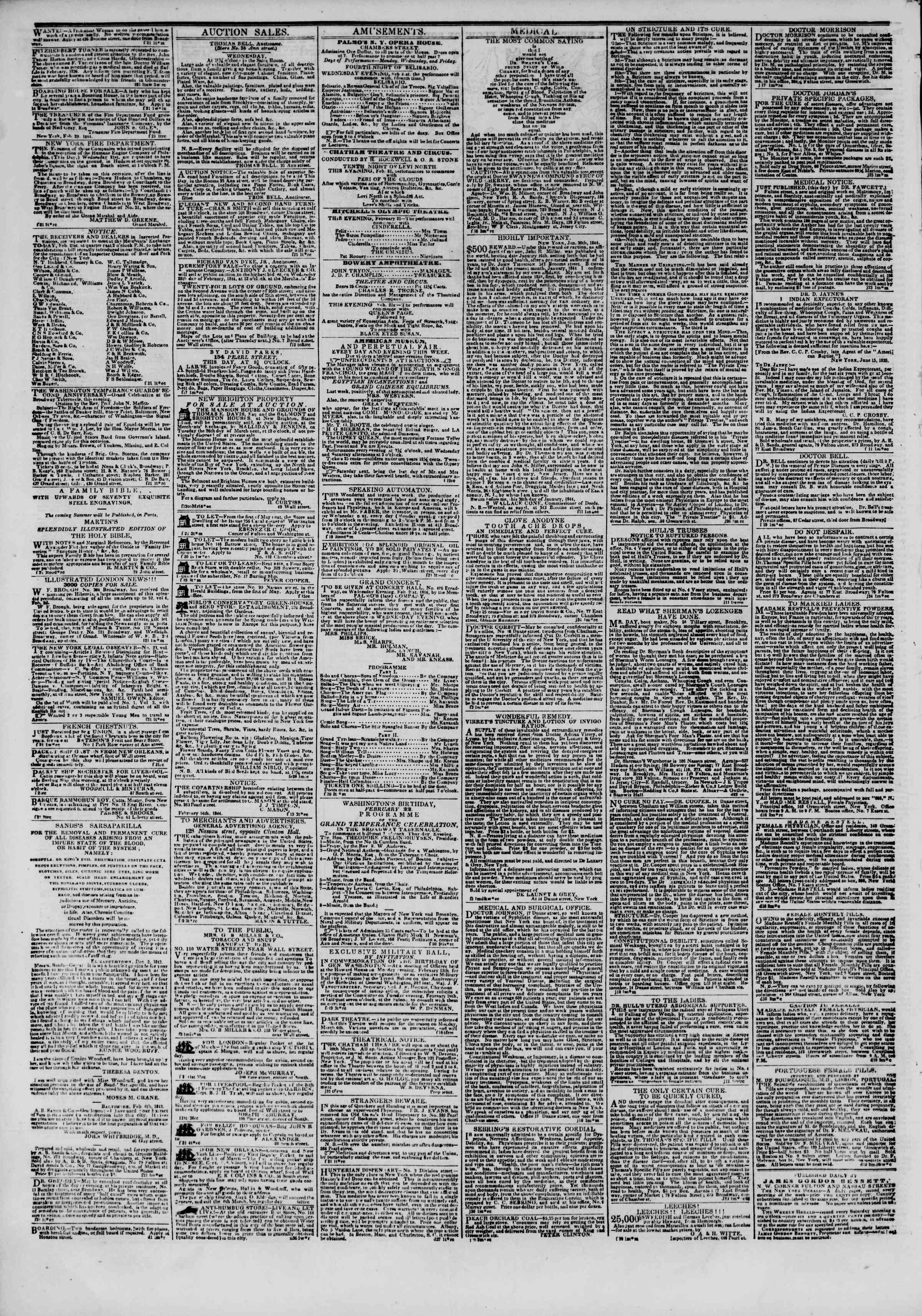 February 21, 1844 Tarihli The New York Herald Gazetesi Sayfa 4