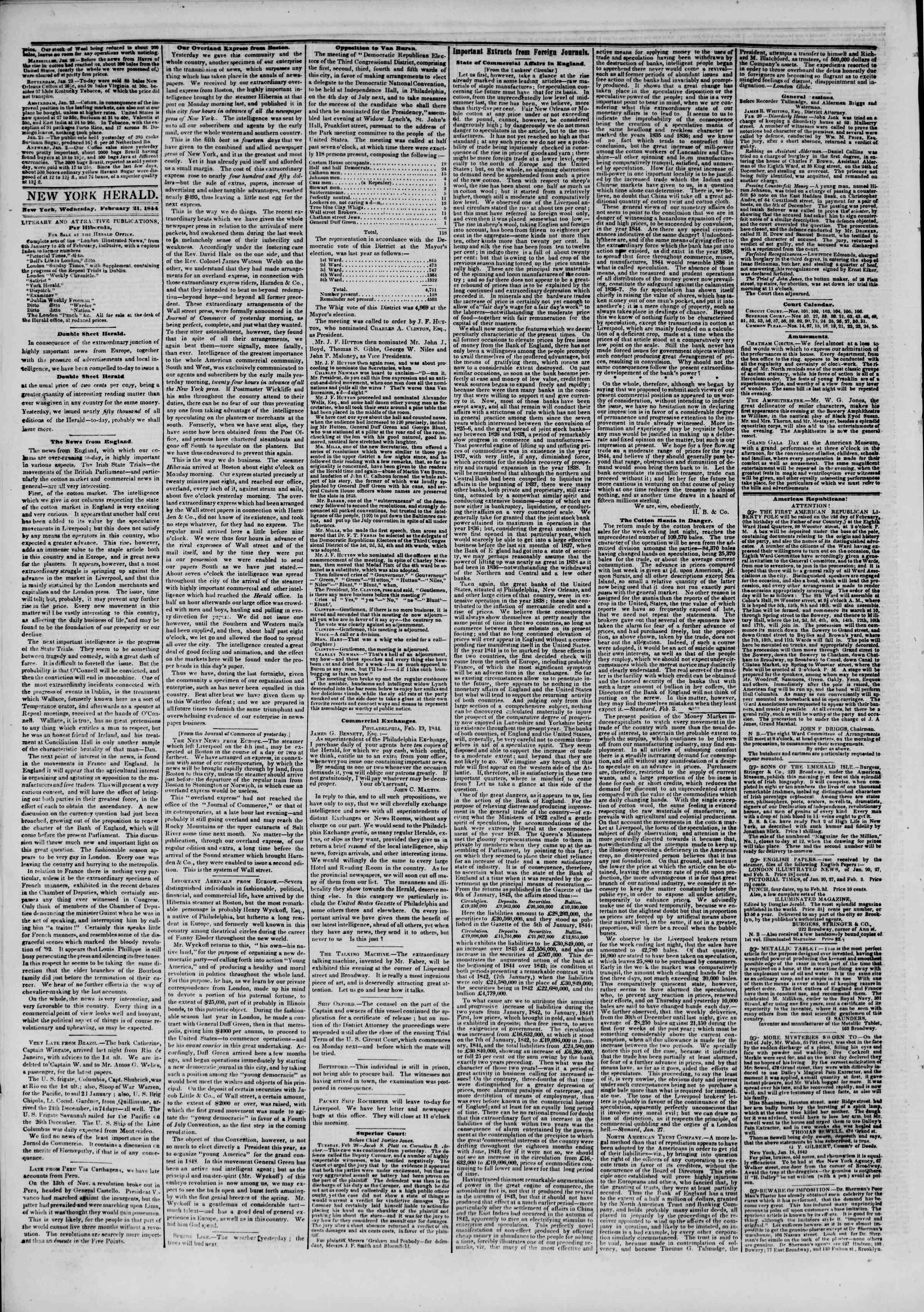 February 21, 1844 Tarihli The New York Herald Gazetesi Sayfa 6