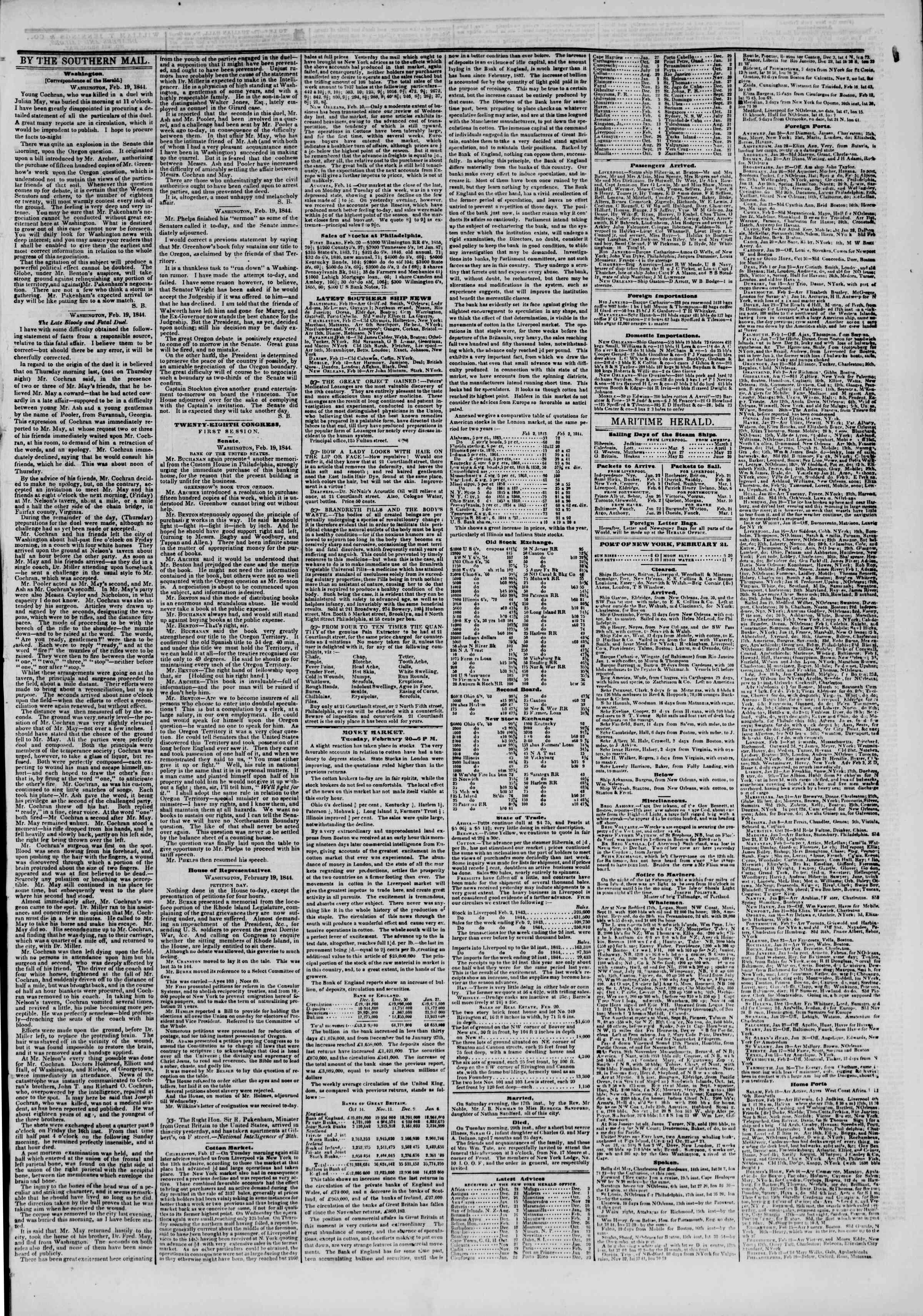 February 21, 1844 Tarihli The New York Herald Gazetesi Sayfa 7