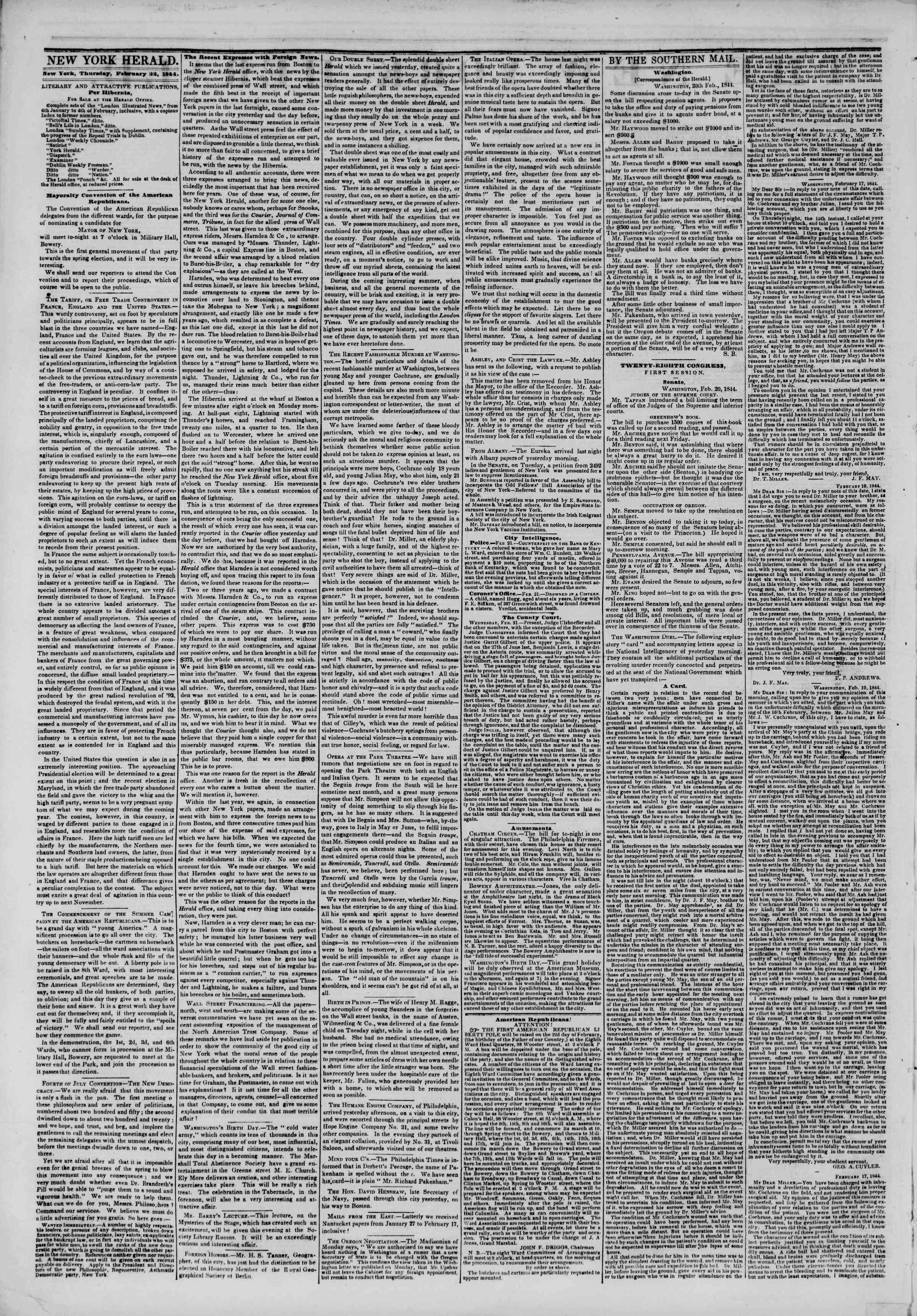 Newspaper of The New York Herald dated February 22, 1844 Page 2
