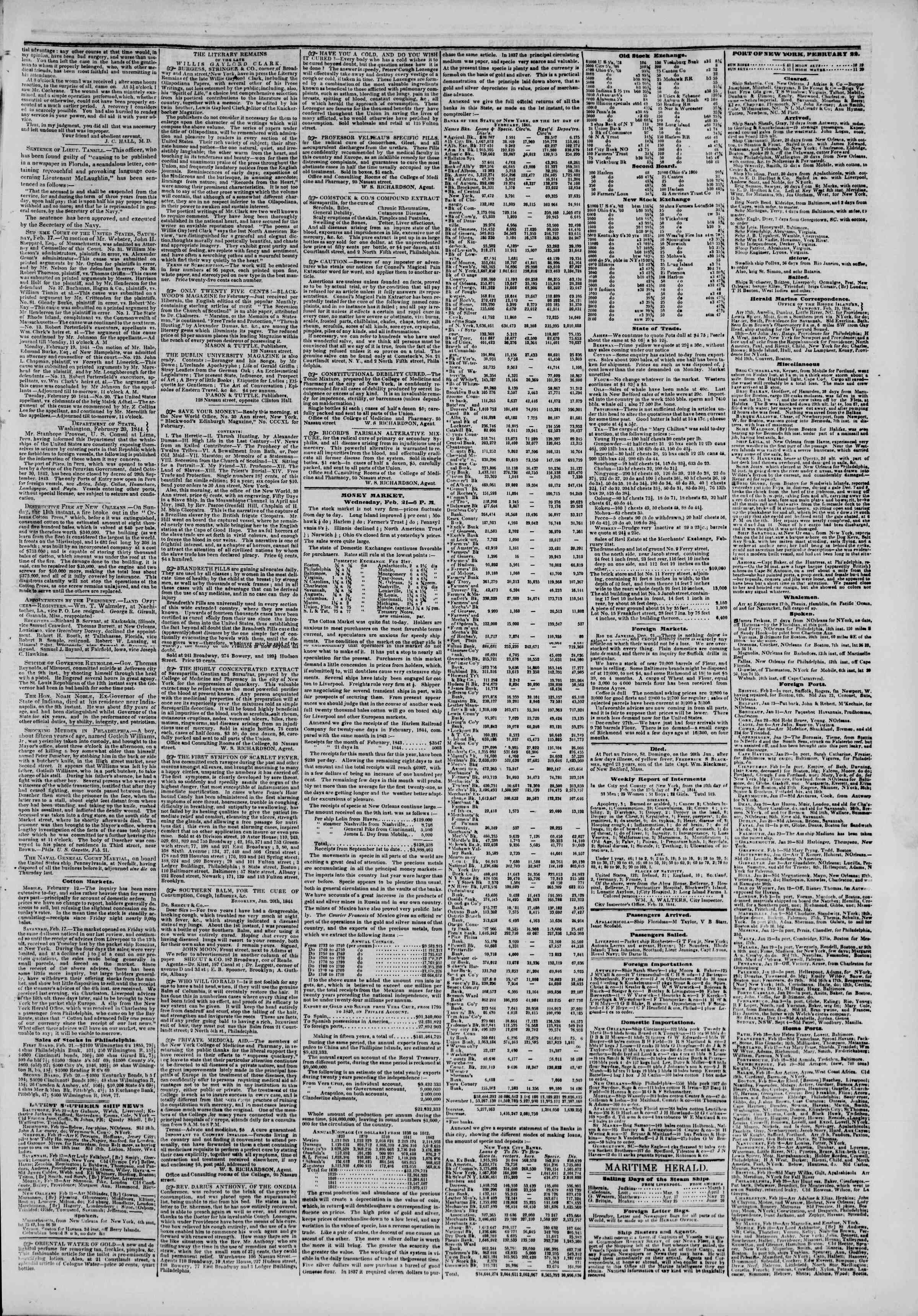 Newspaper of The New York Herald dated February 22, 1844 Page 3