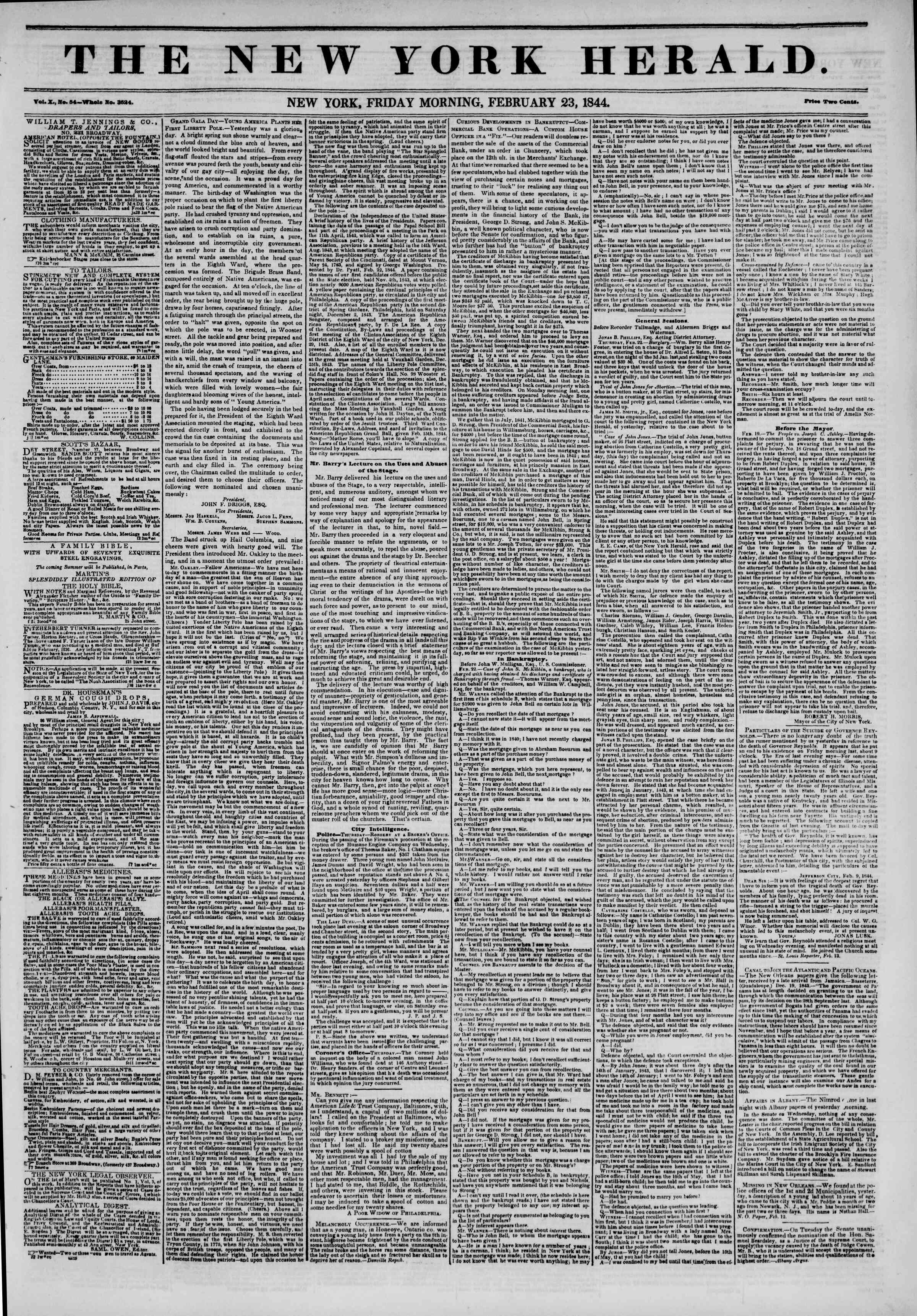 Newspaper of The New York Herald dated February 23, 1844 Page 1