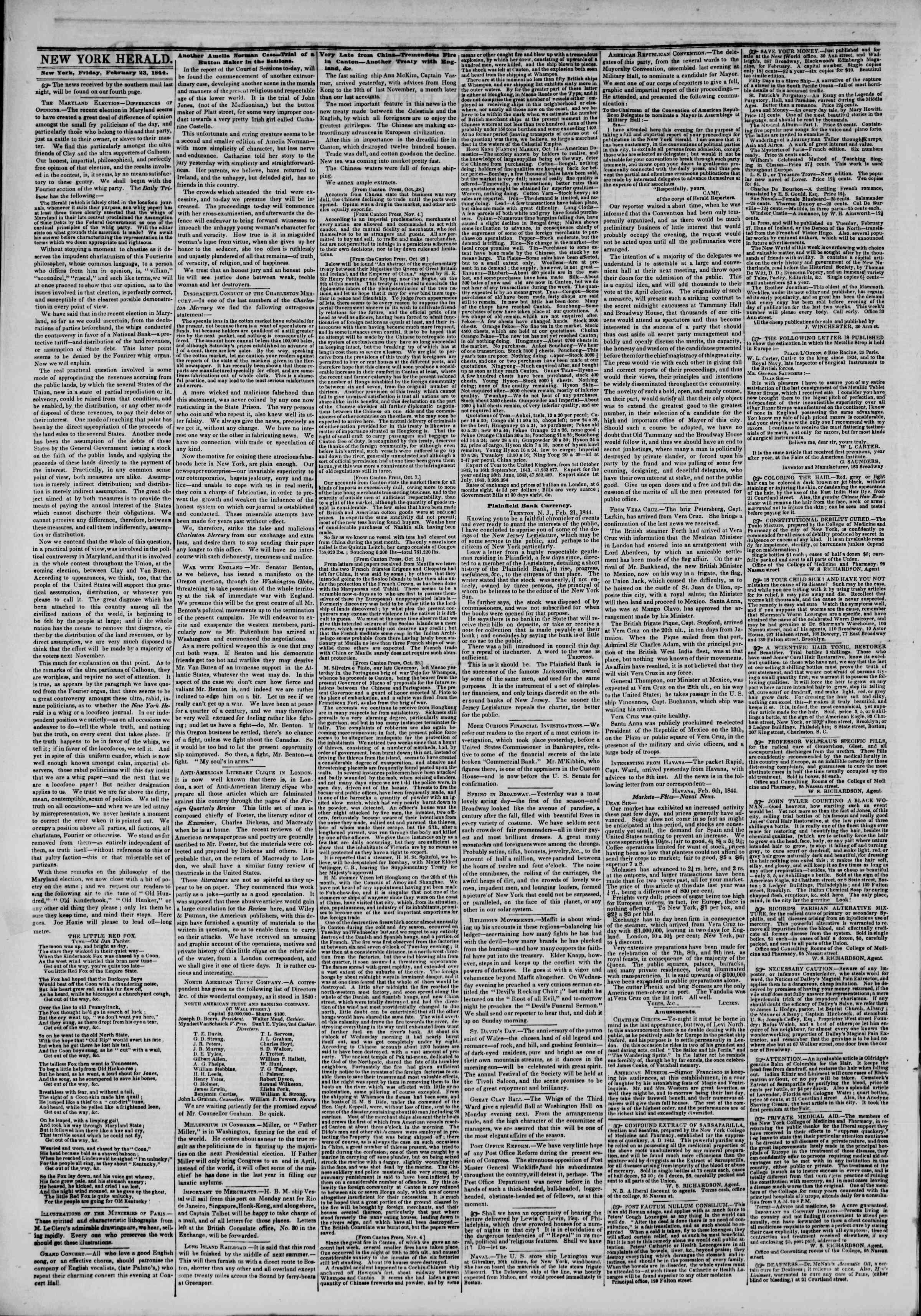 February 23, 1844 Tarihli The New York Herald Gazetesi Sayfa 2