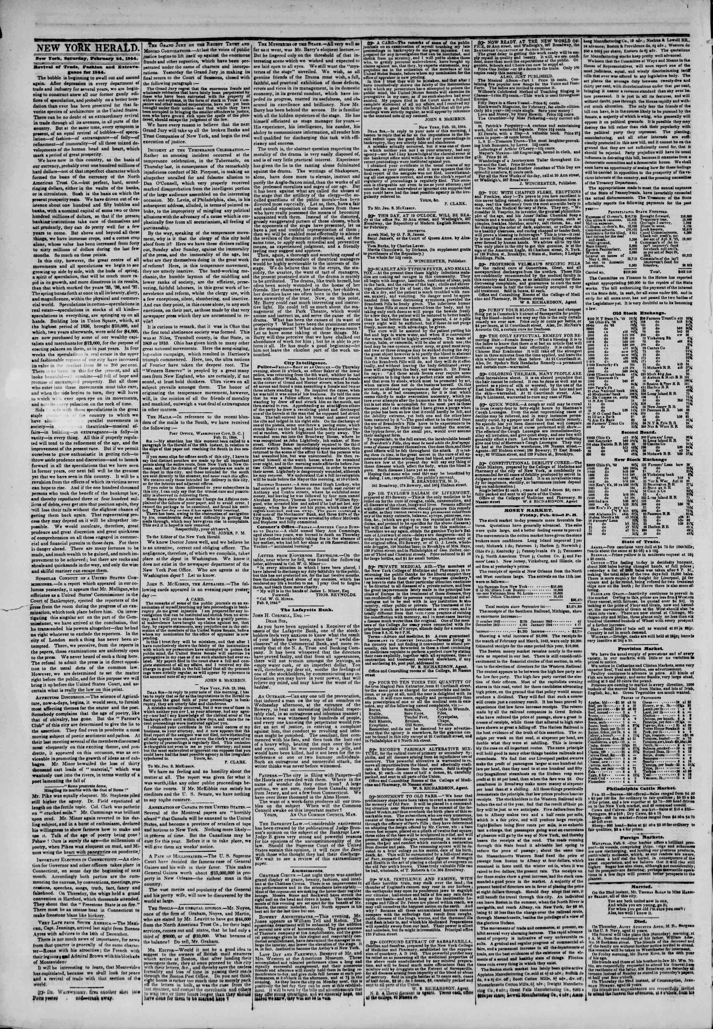 Newspaper of The New York Herald dated February 24, 1844 Page 2