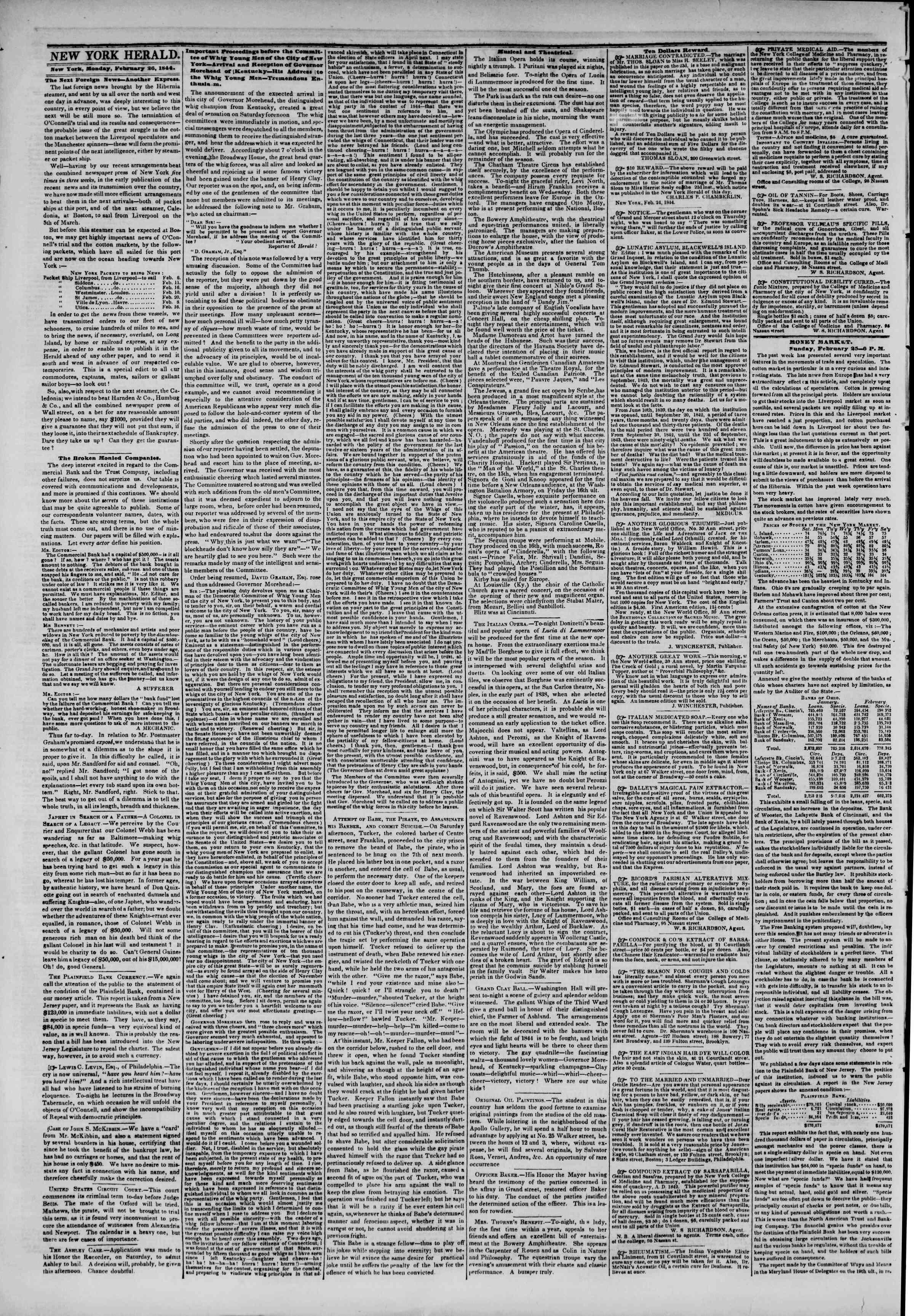 February 26, 1844 Tarihli The New York Herald Gazetesi Sayfa 2