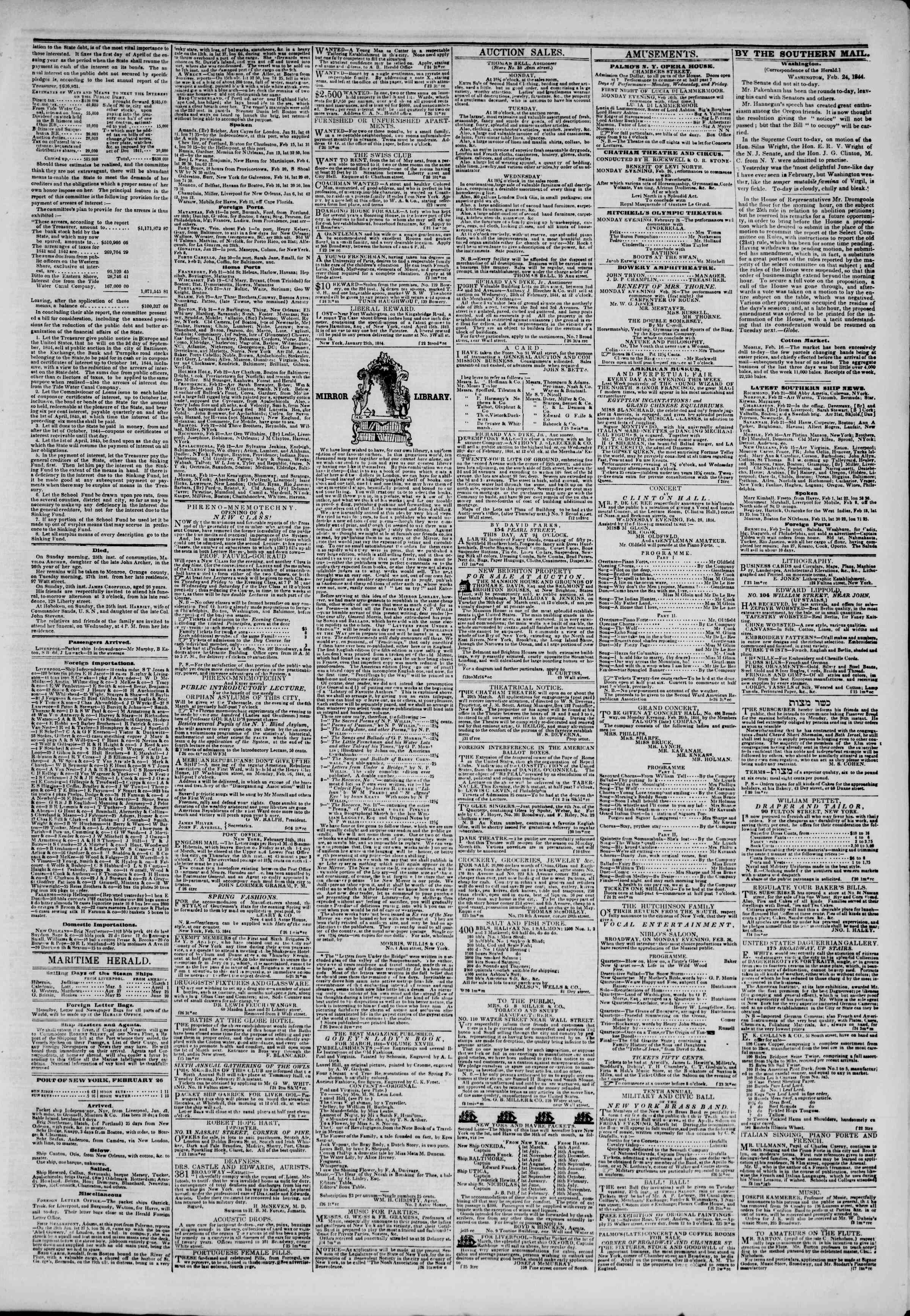 Newspaper of The New York Herald dated February 26, 1844 Page 3