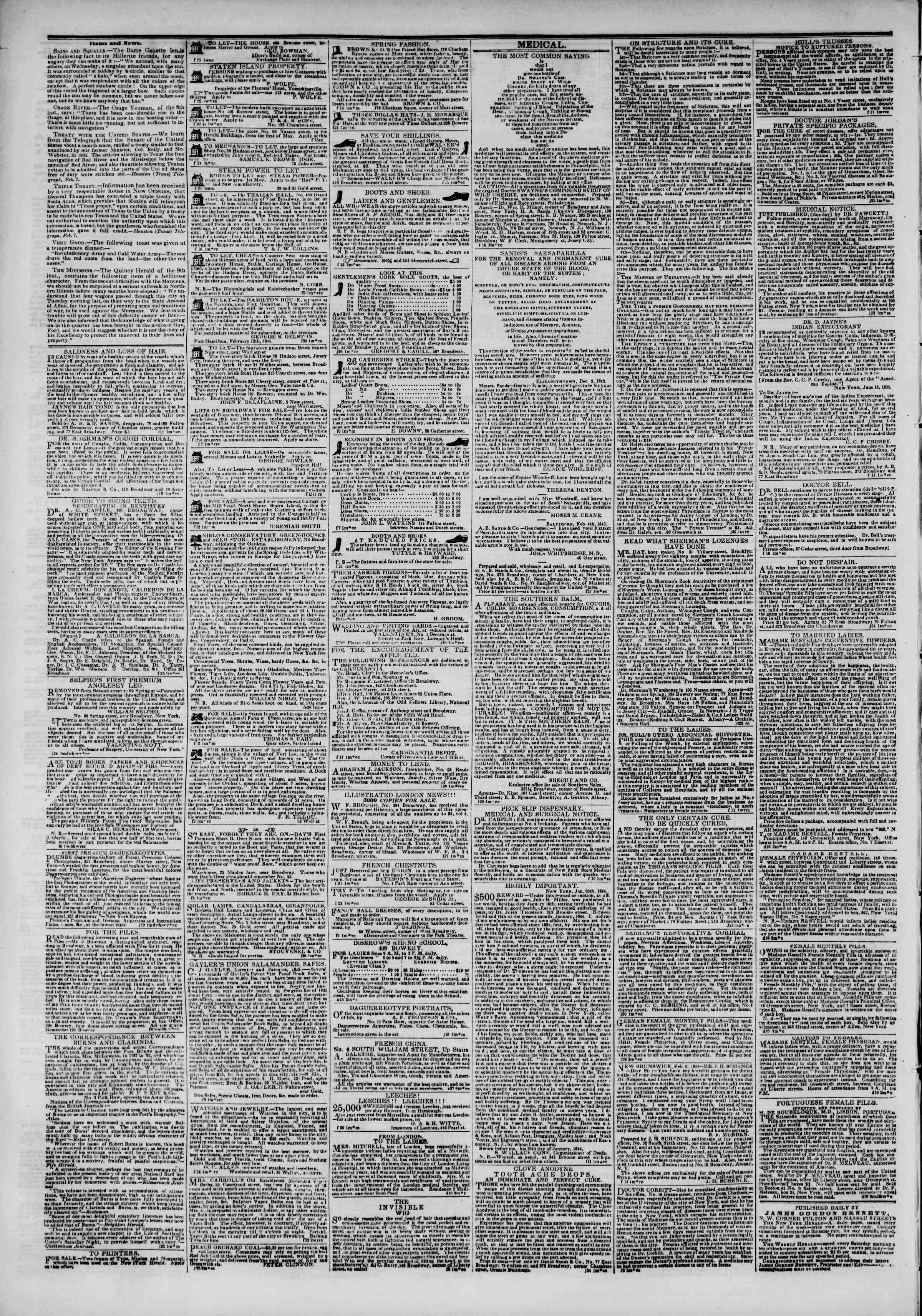 Newspaper of The New York Herald dated February 26, 1844 Page 4