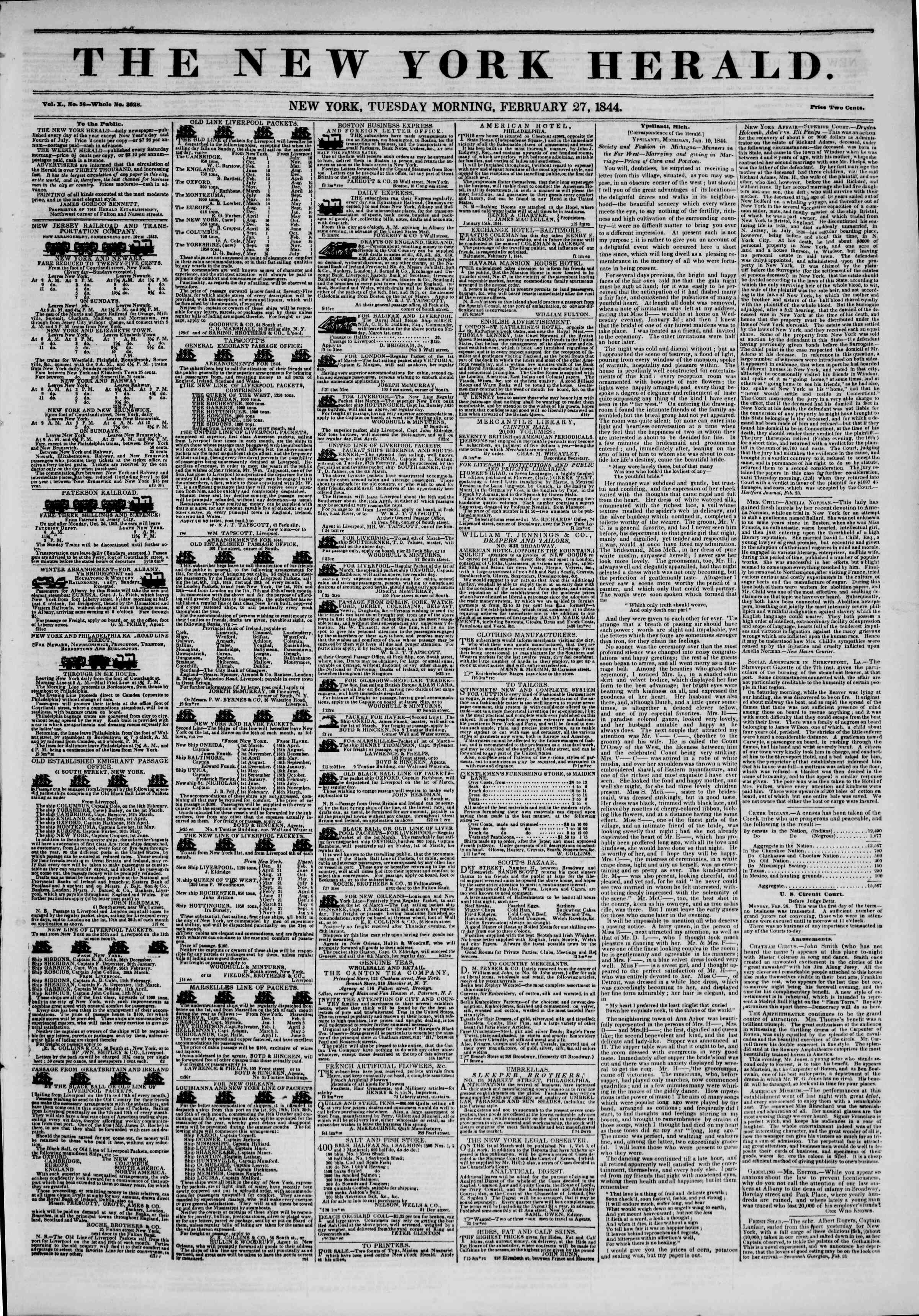 February 27, 1844 Tarihli The New York Herald Gazetesi Sayfa 1