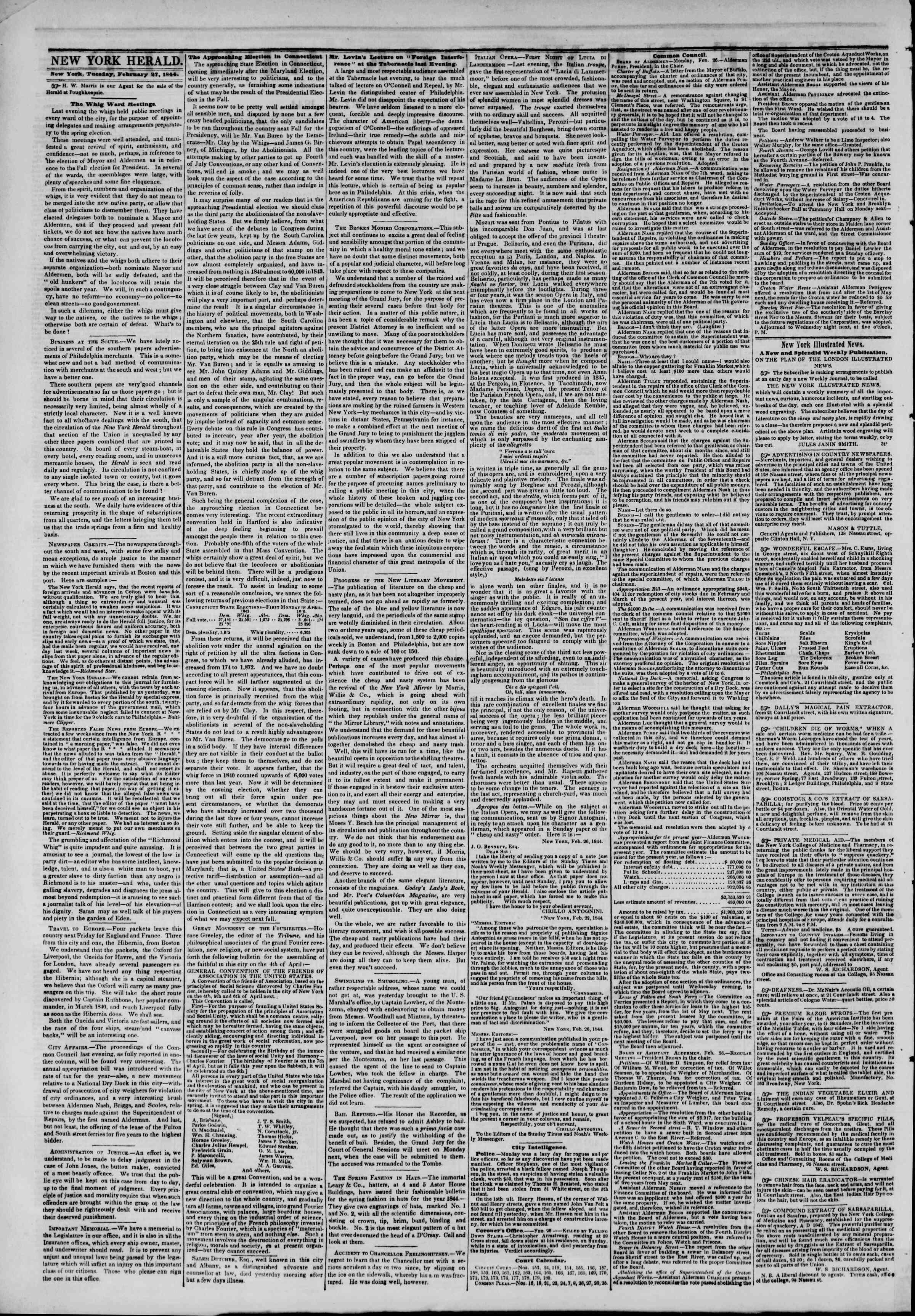 February 27, 1844 Tarihli The New York Herald Gazetesi Sayfa 2