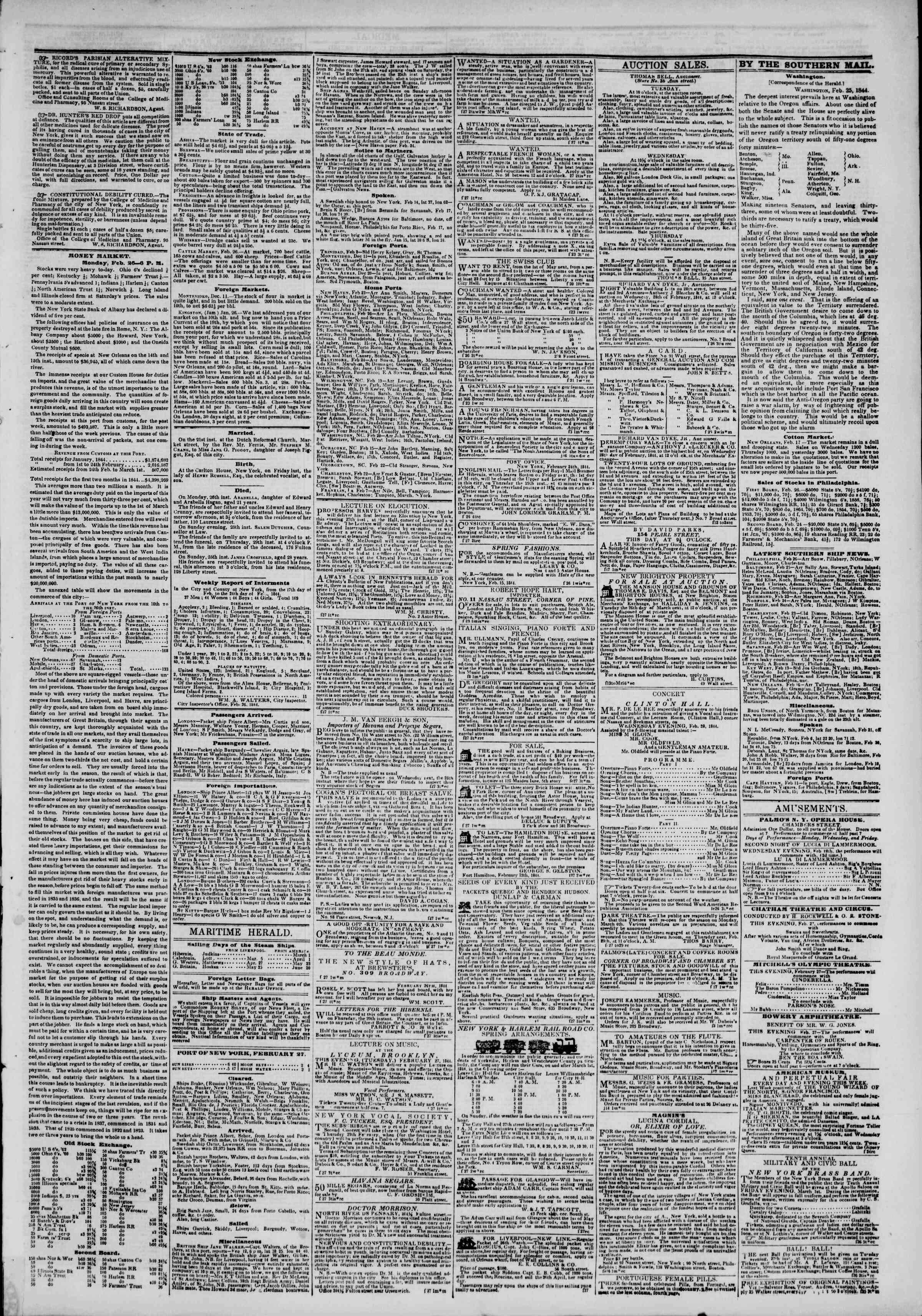 February 27, 1844 Tarihli The New York Herald Gazetesi Sayfa 3