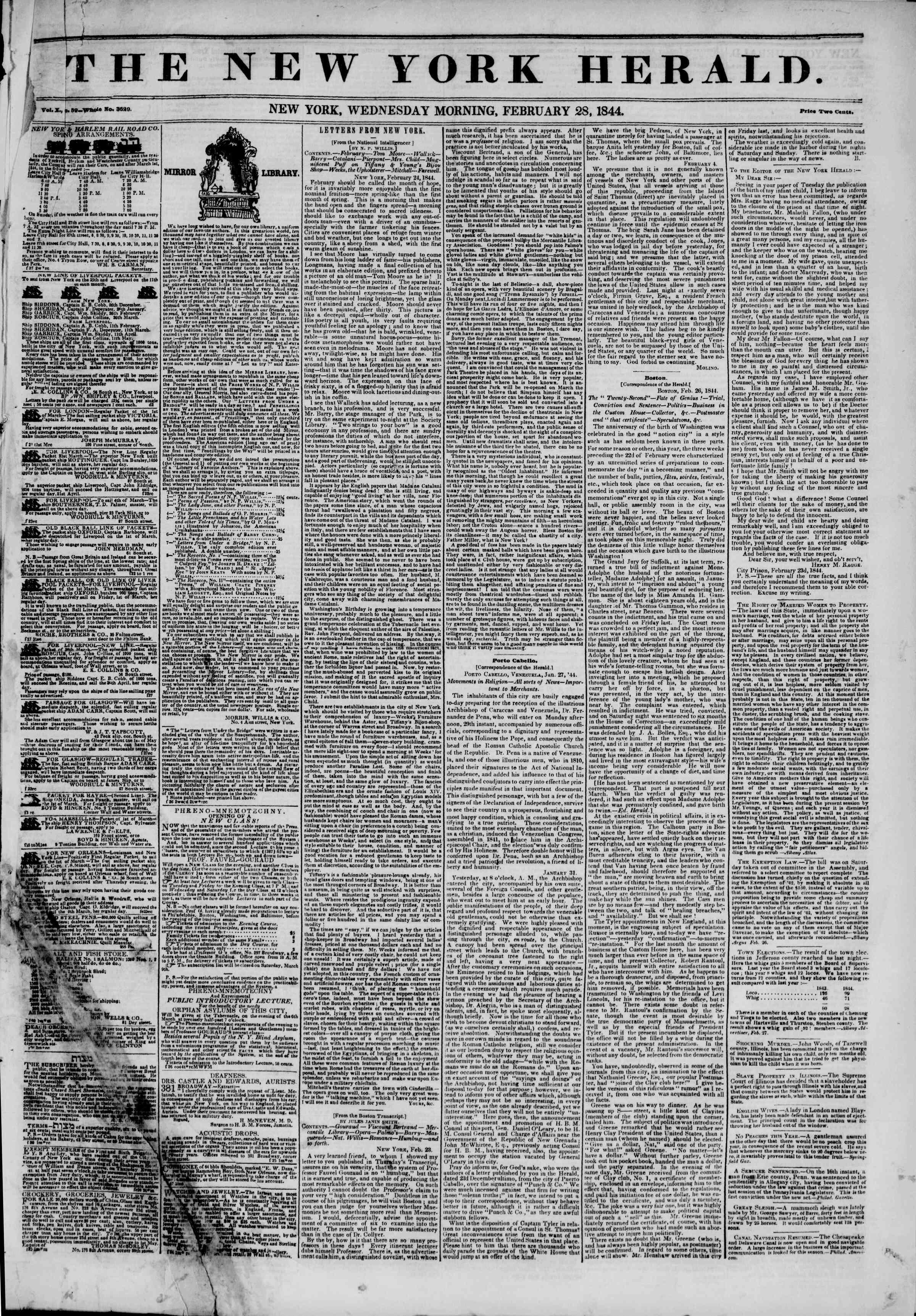 February 28, 1844 Tarihli The New York Herald Gazetesi Sayfa 1