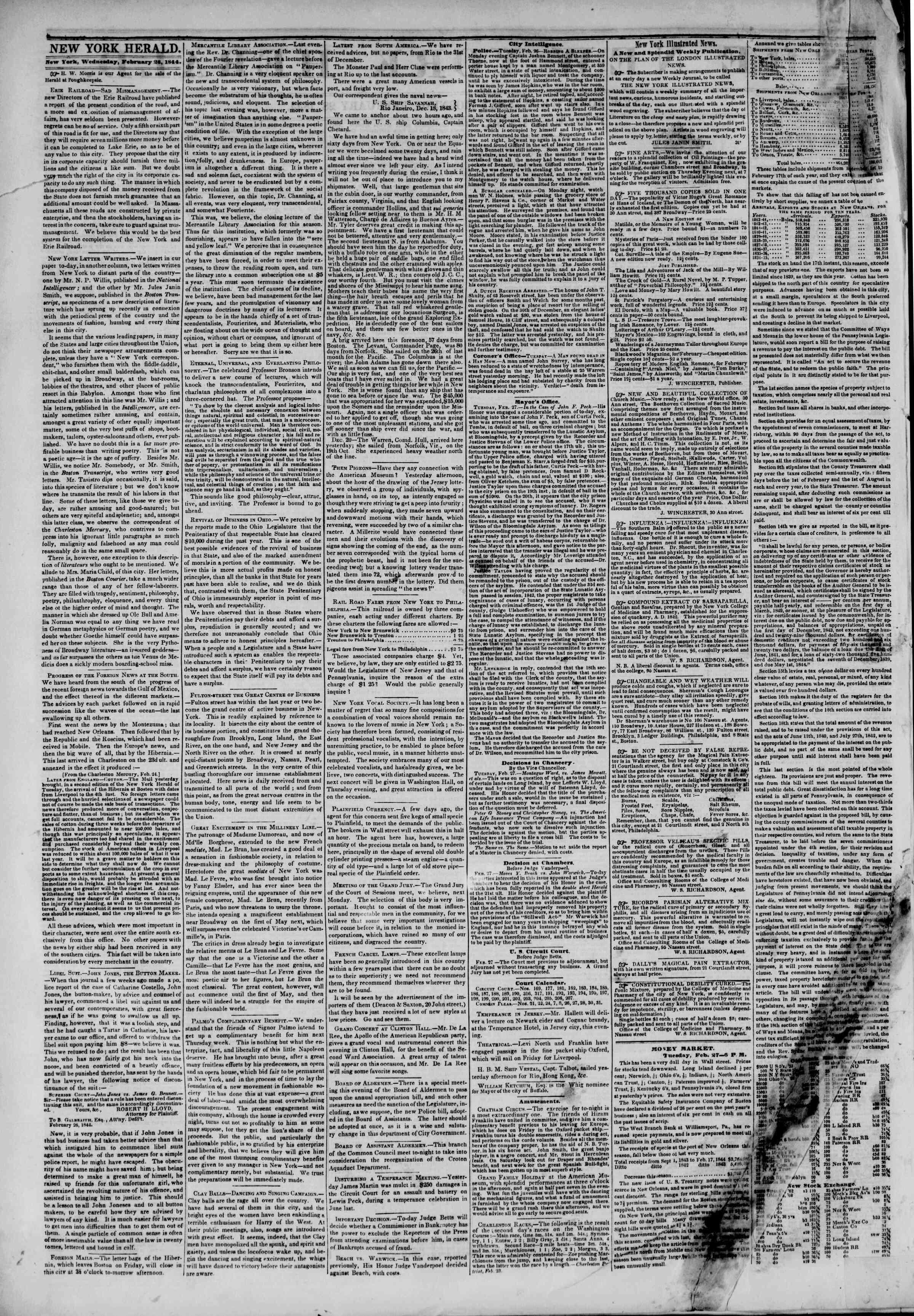 February 28, 1844 Tarihli The New York Herald Gazetesi Sayfa 2