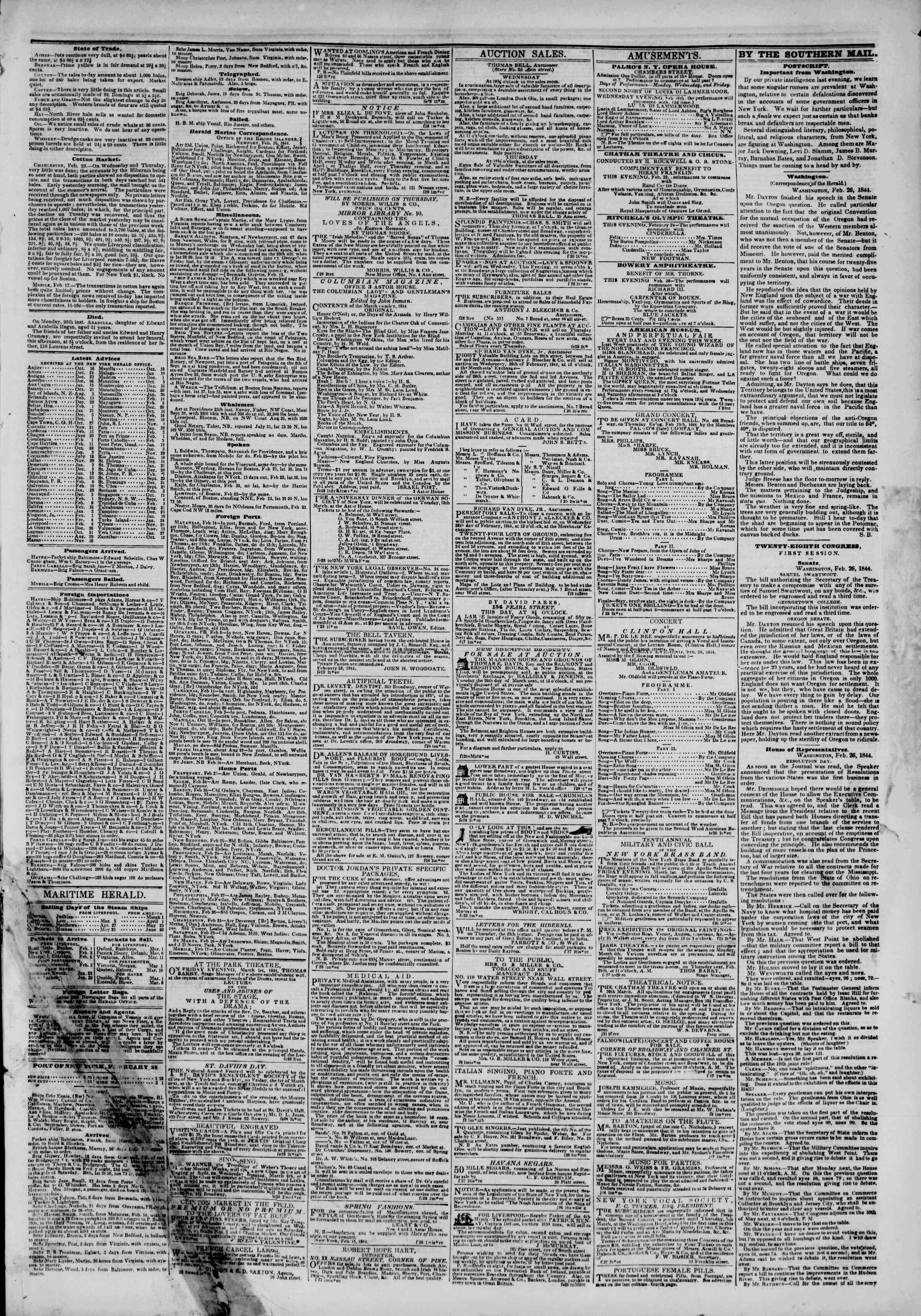 Newspaper of The New York Herald dated February 28, 1844 Page 3