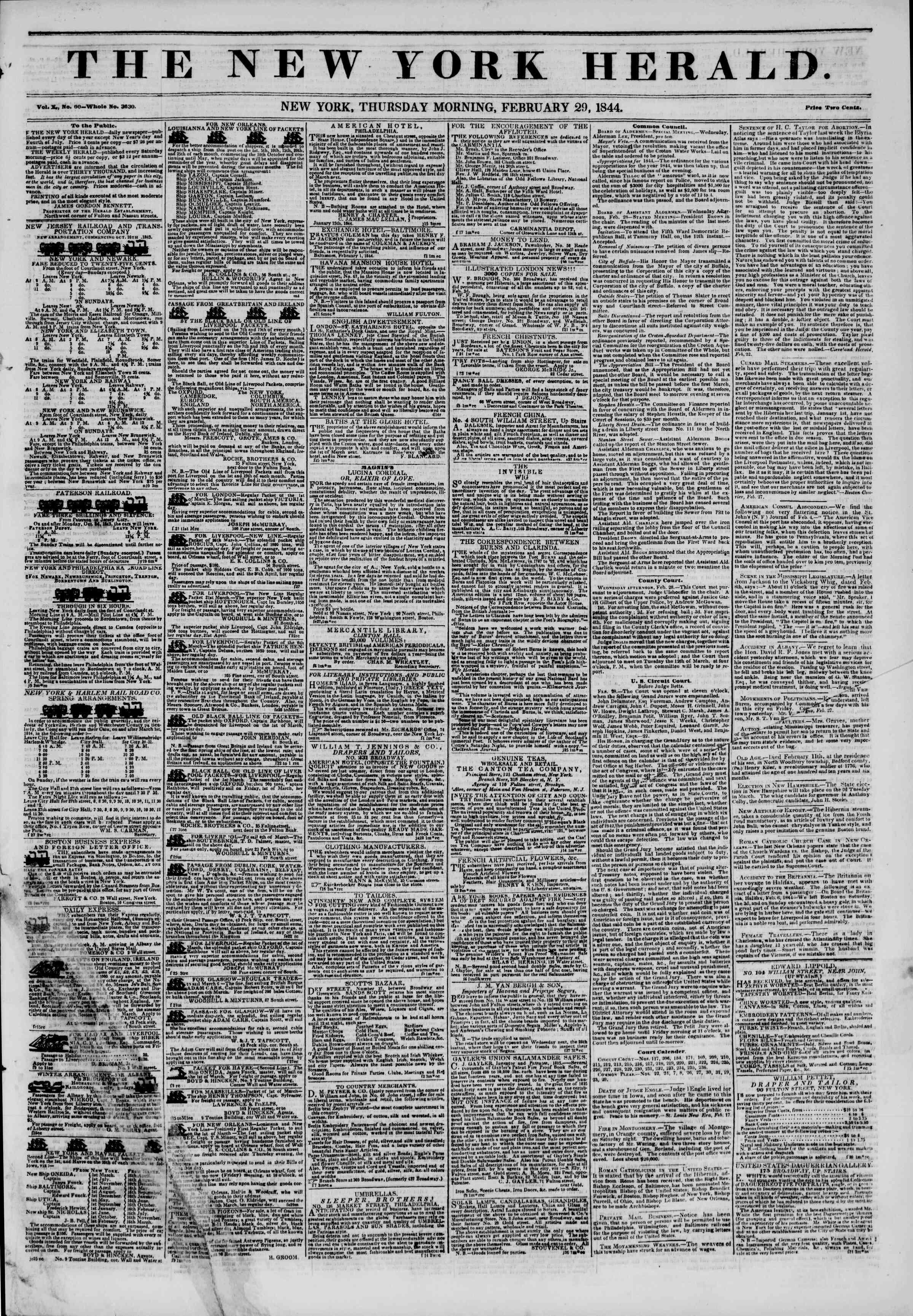 February 29, 1844 Tarihli The New York Herald Gazetesi Sayfa 1