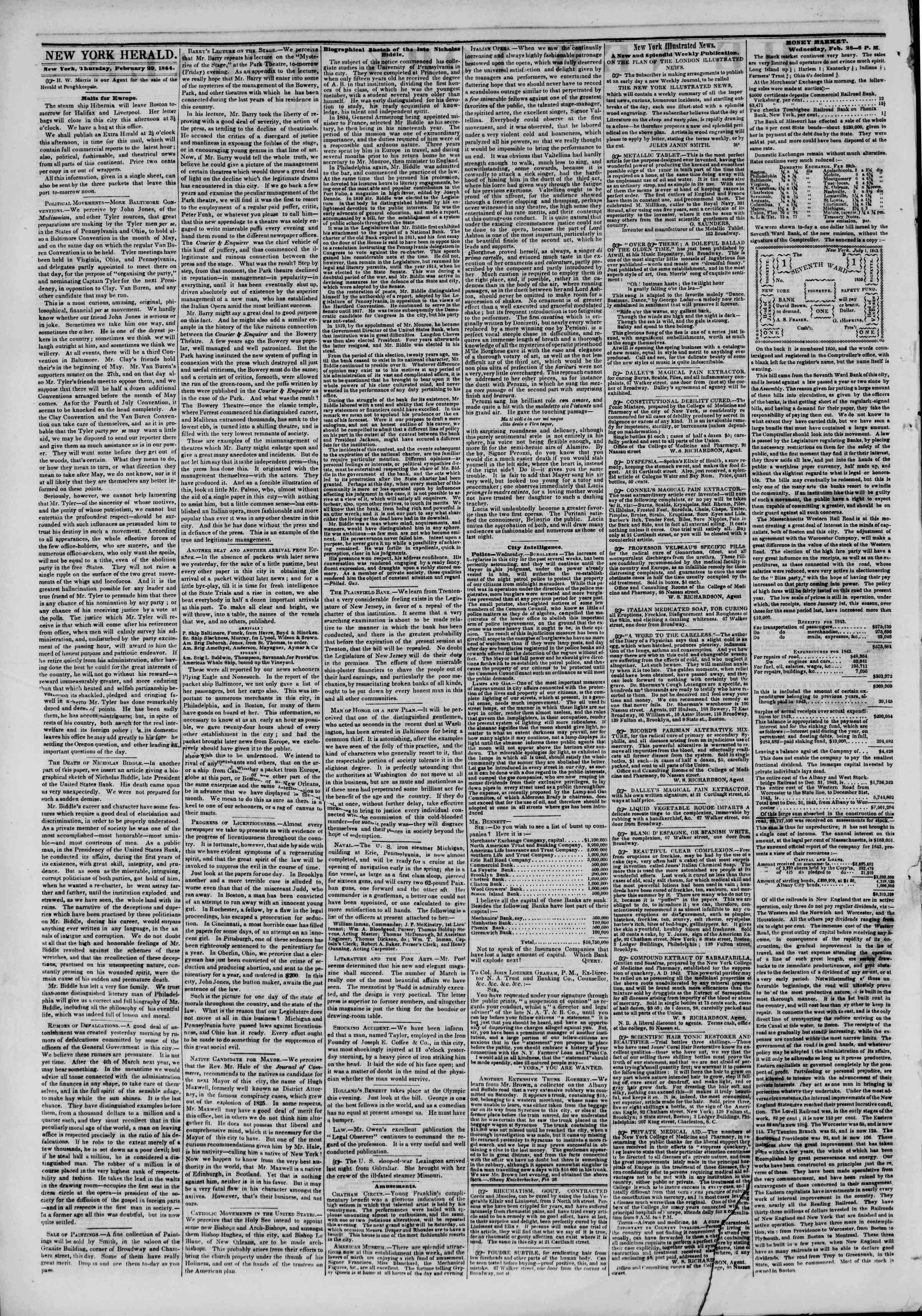 Newspaper of The New York Herald dated February 29, 1844 Page 2