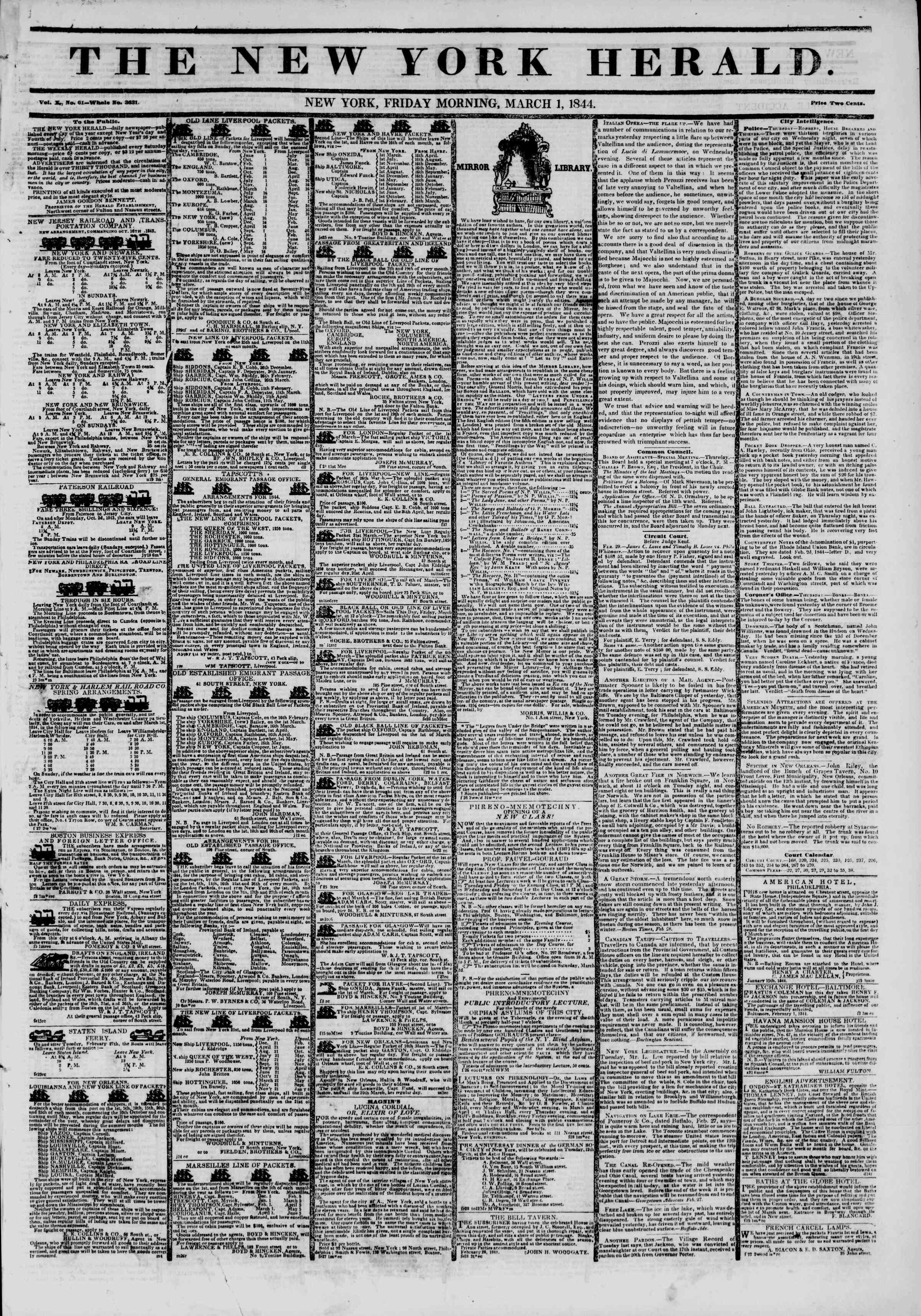 March 1, 1844 Tarihli The New York Herald Gazetesi Sayfa 1