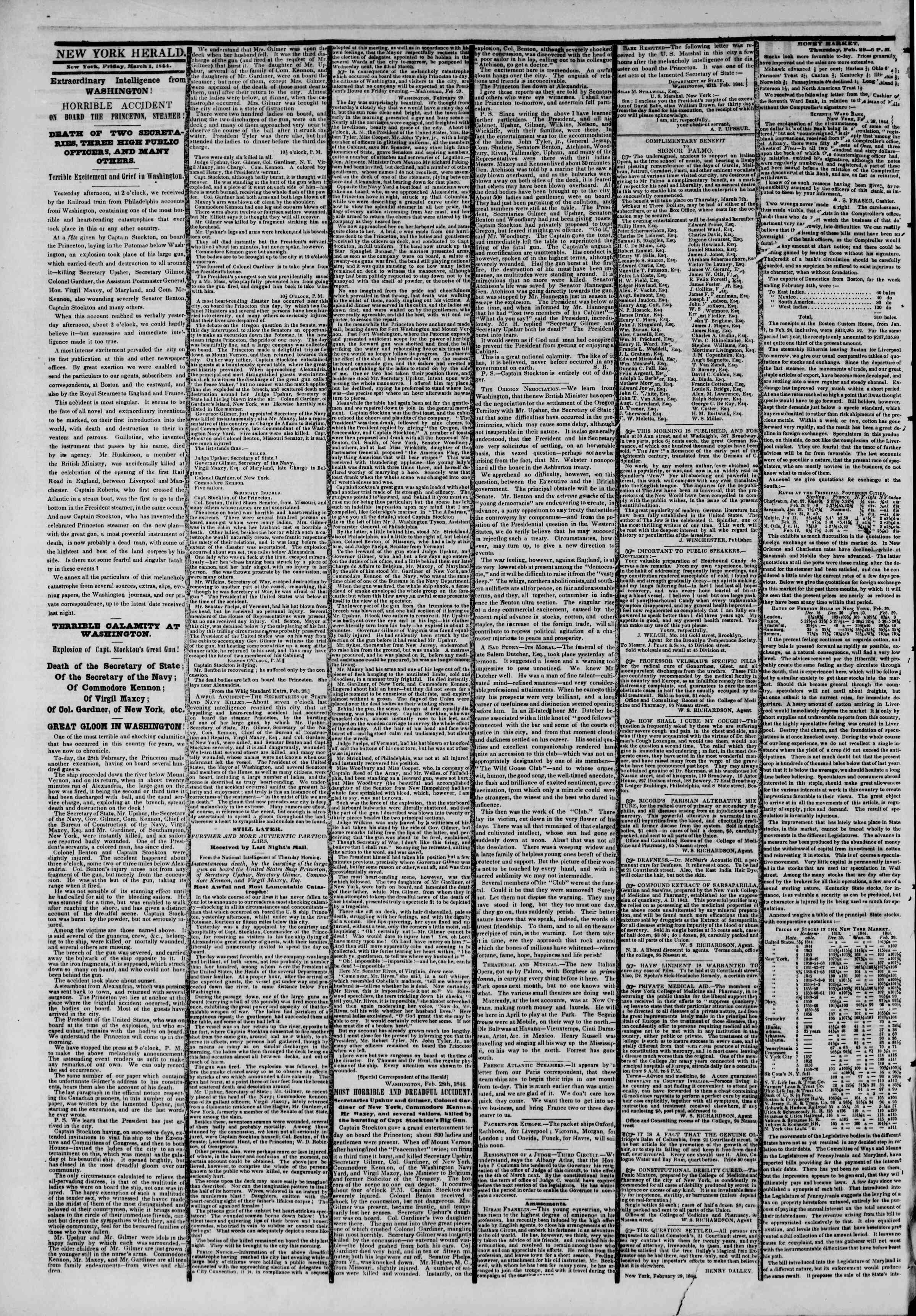 Newspaper of The New York Herald dated March 1, 1844 Page 2