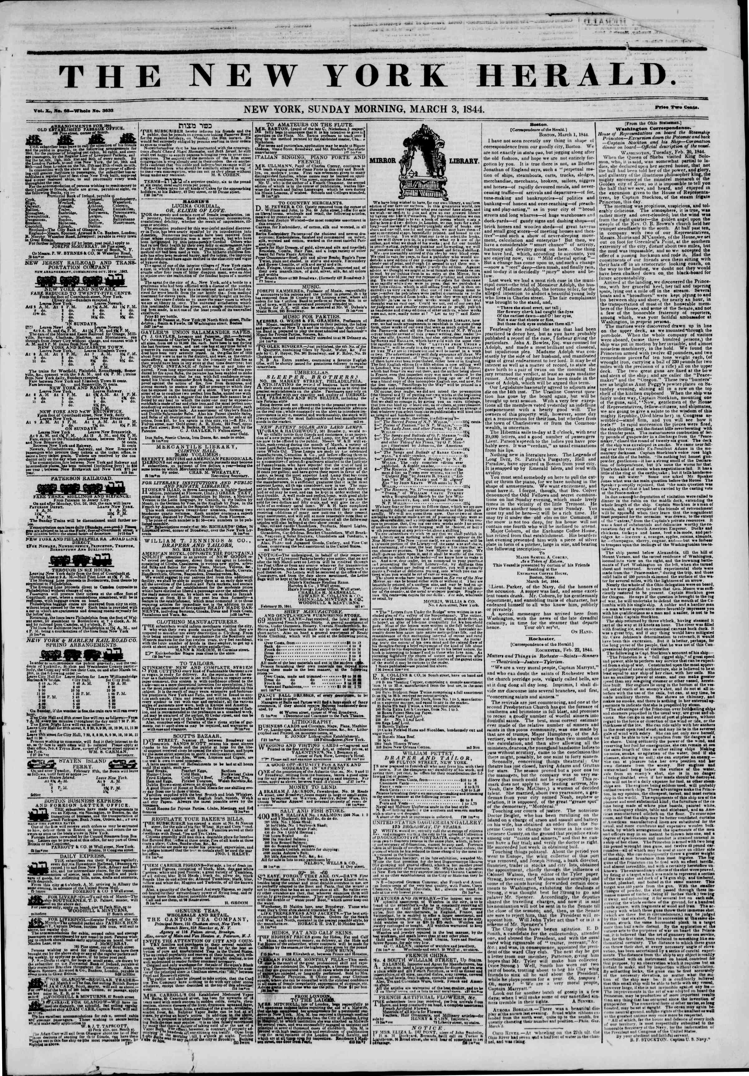 Newspaper of The New York Herald dated March 3, 1844 Page 1