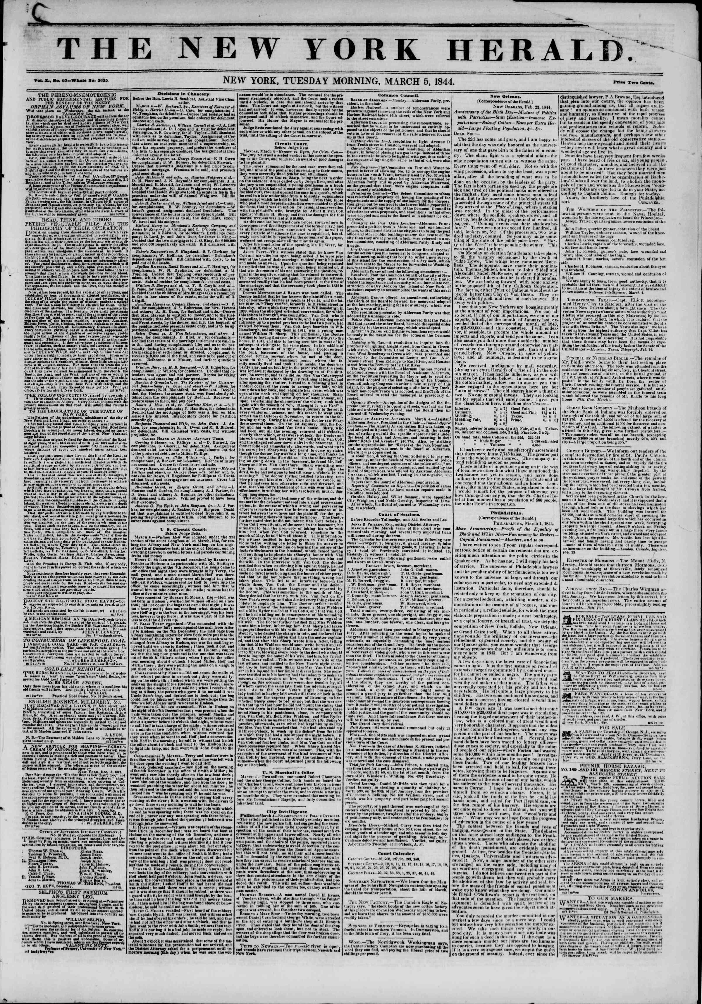 5 Mart 1844 tarihli The New York Herald Gazetesi Sayfa 1