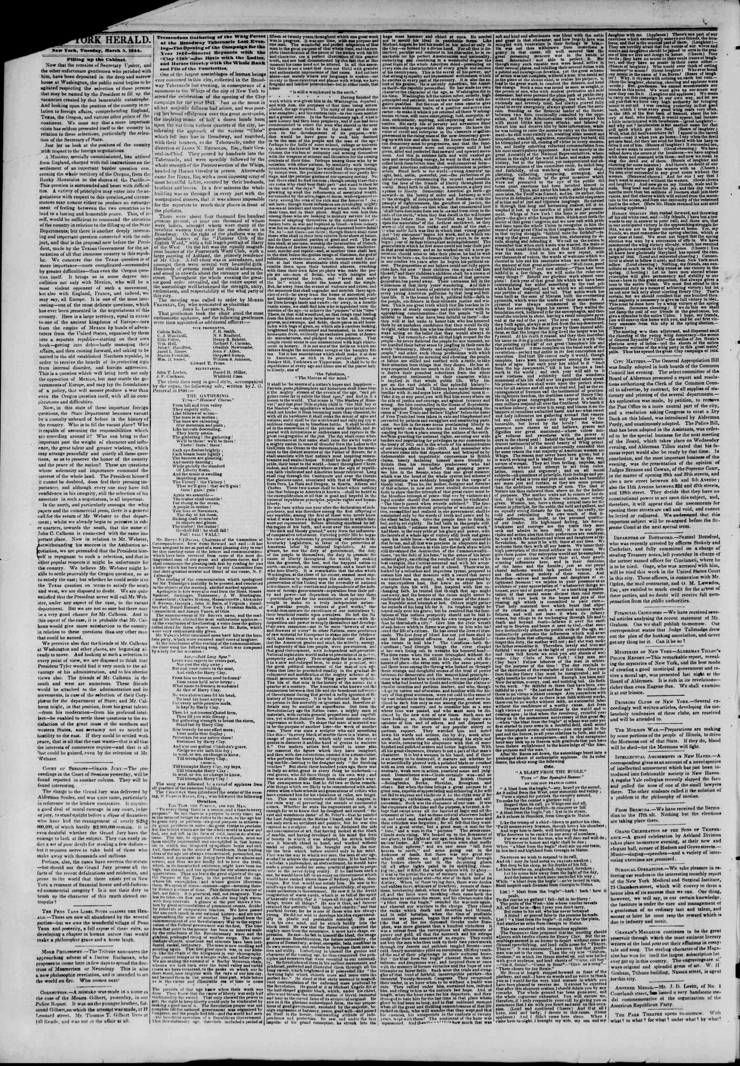 Newspaper of The New York Herald dated March 5, 1844 Page 2