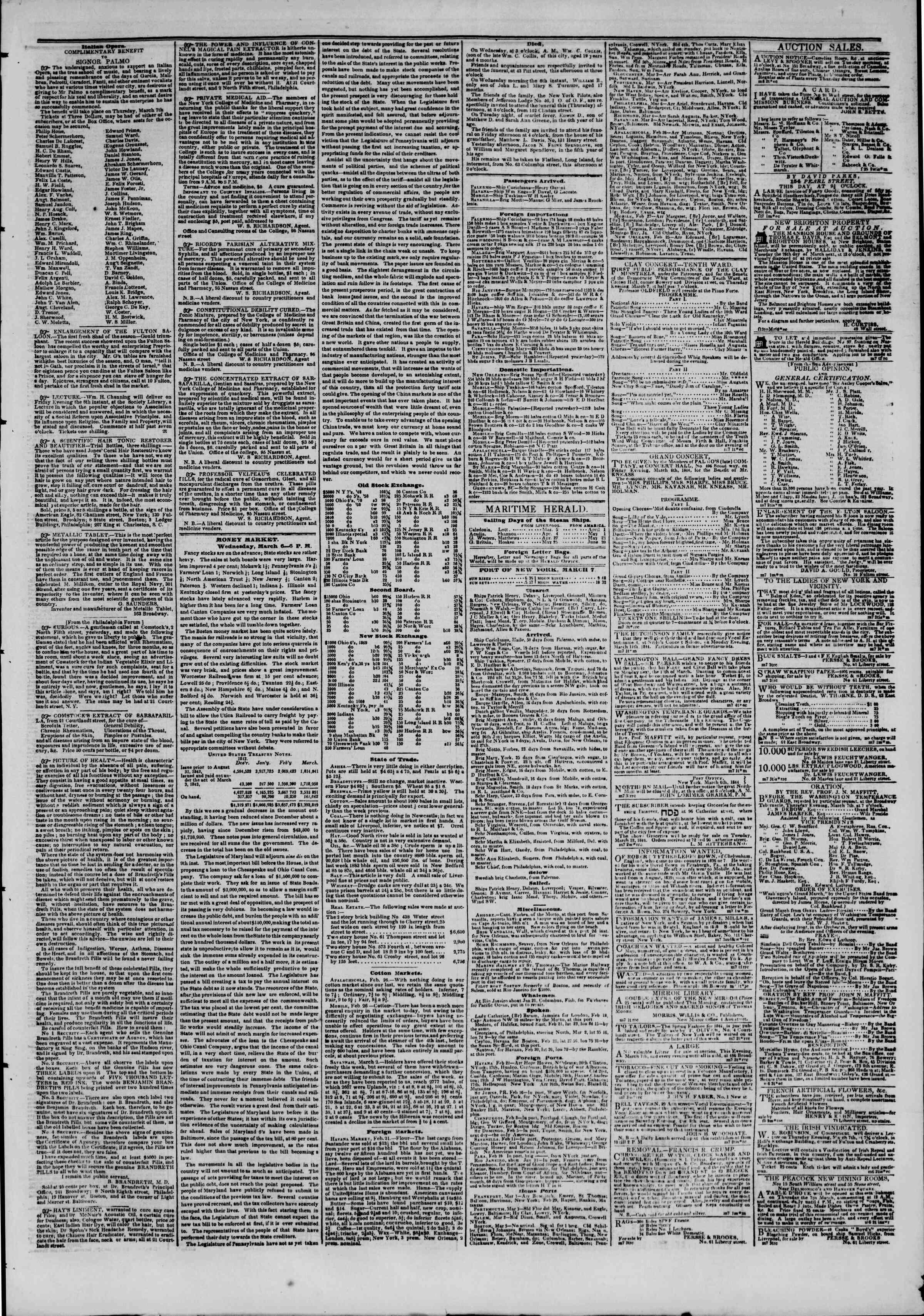 7 Mart 1844 tarihli The New York Herald Gazetesi Sayfa 3