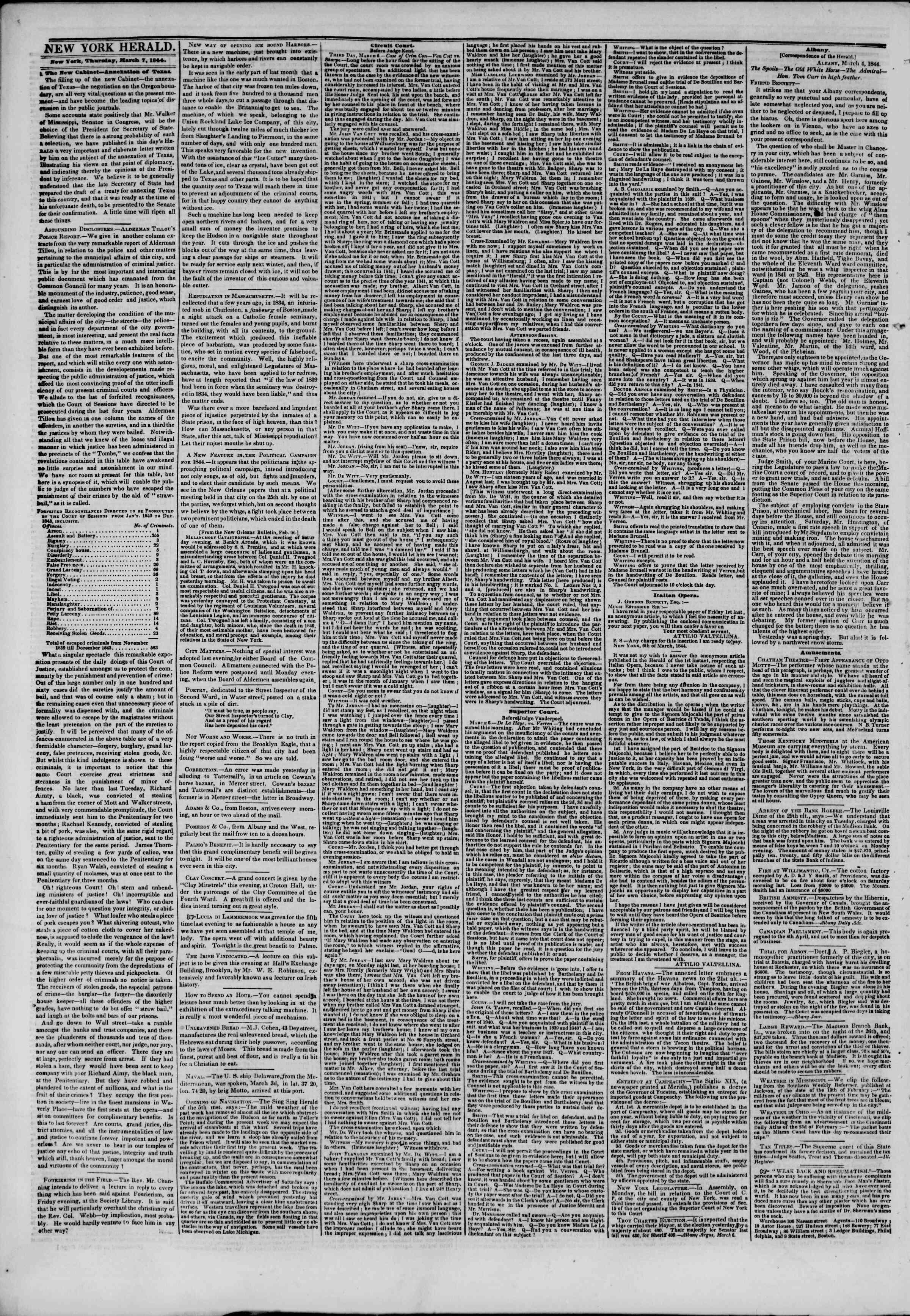 March 7, 1844 Tarihli The New York Herald Gazetesi Sayfa 6
