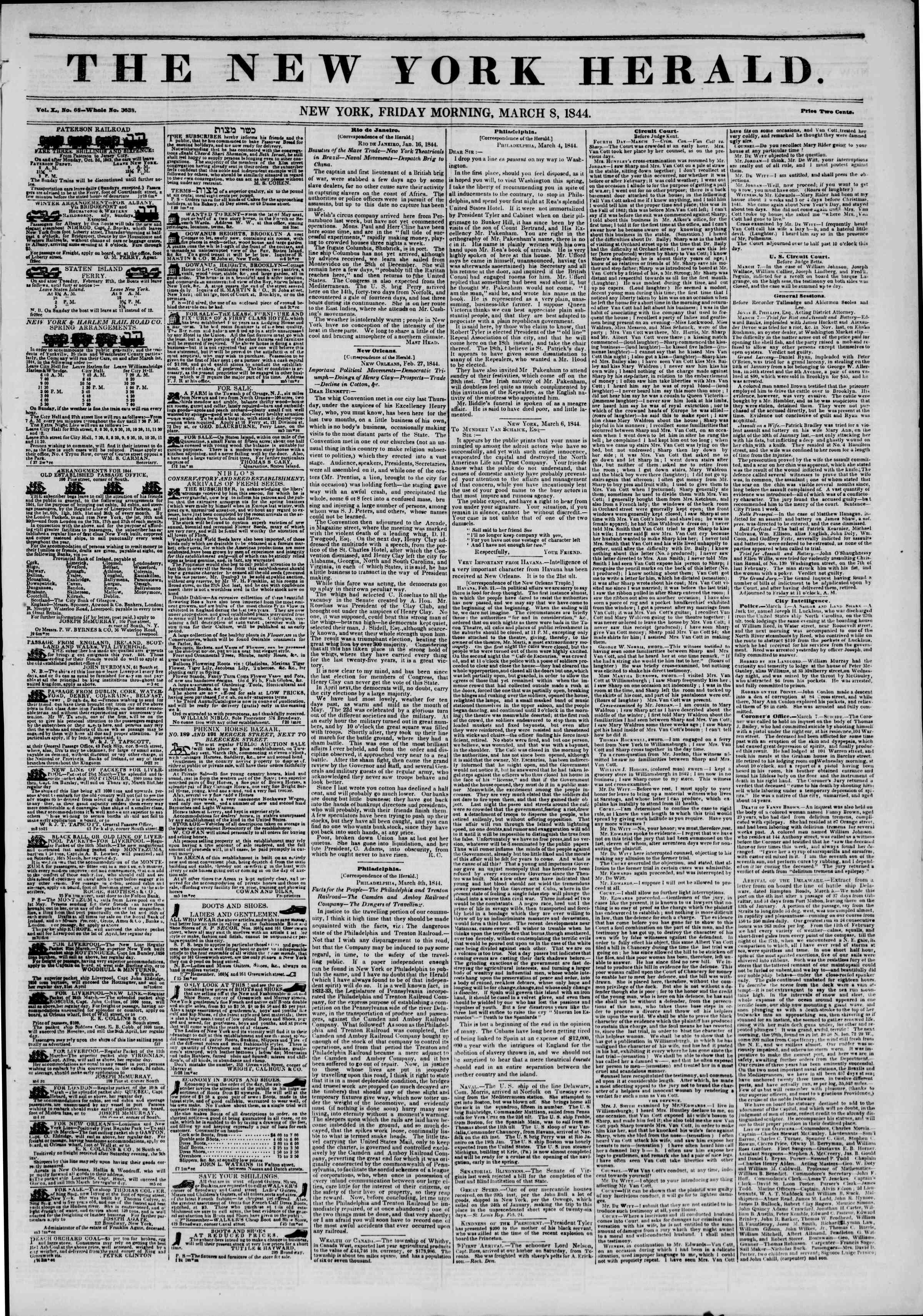 March 8, 1844 Tarihli The New York Herald Gazetesi Sayfa 1